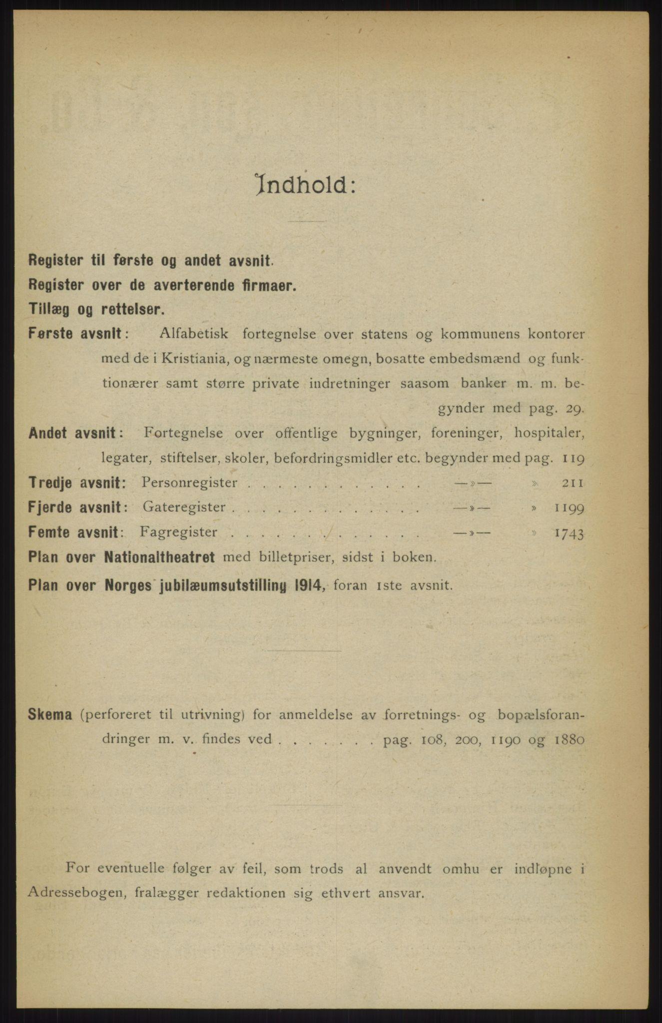 RA, Kristiania adressebok (publikasjon)*, 1914, s. upaginert