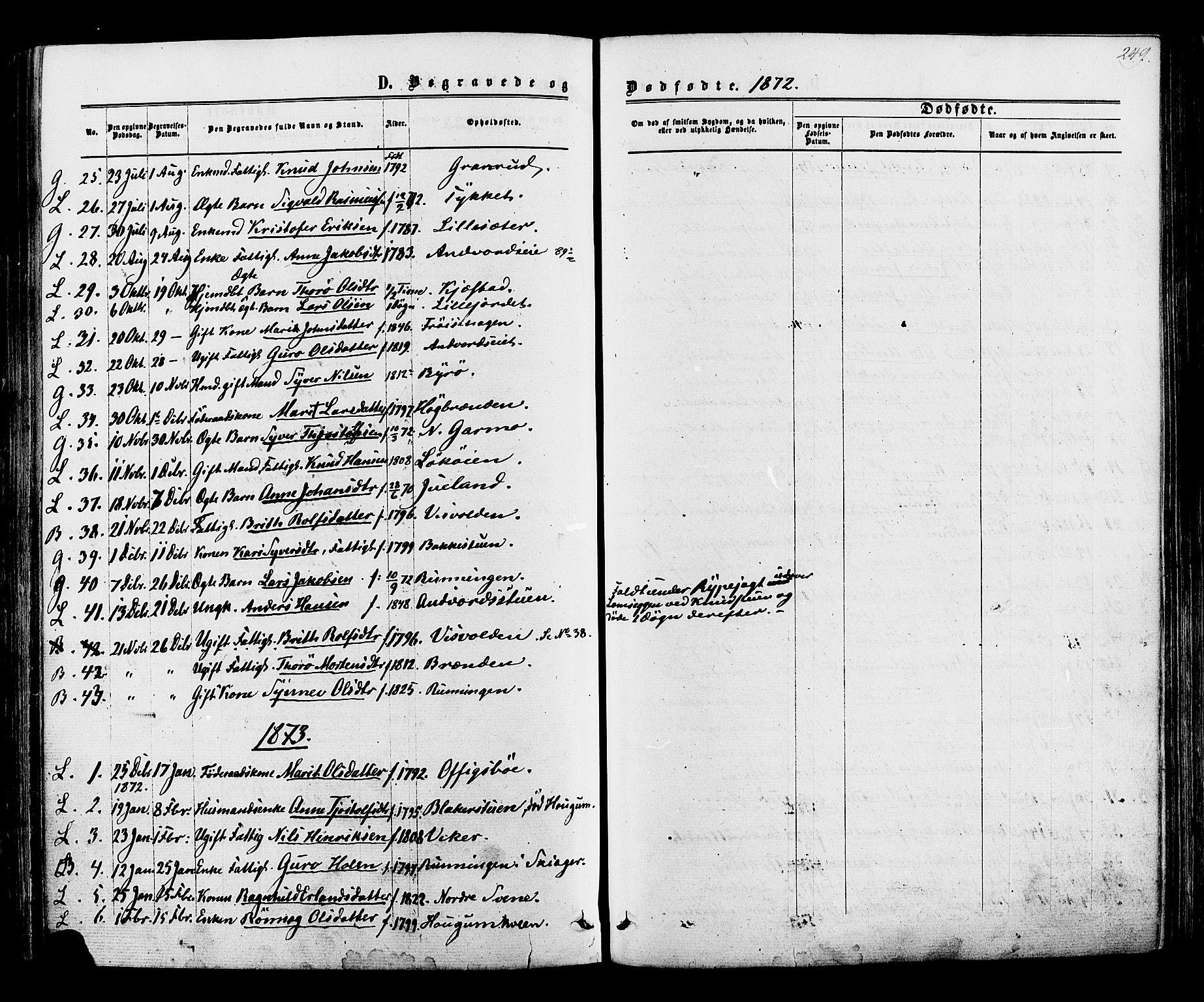 SAH, Lom prestekontor, K/L0007: Ministerialbok nr. 7, 1863-1884, s. 249