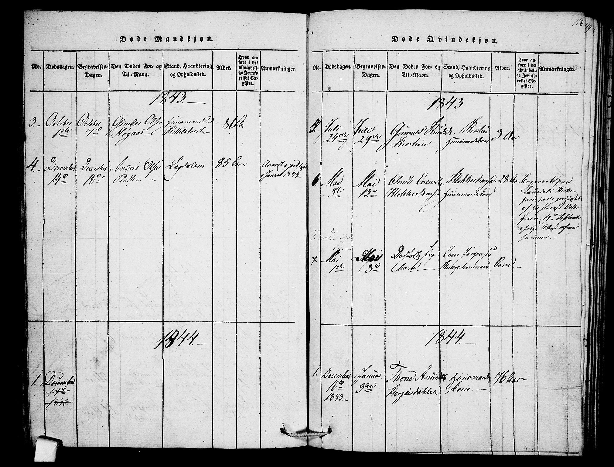 SAKO, Mo kirkebøker, F/Fb/L0001: Ministerialbok nr. II 1, 1814-1844, s. 118