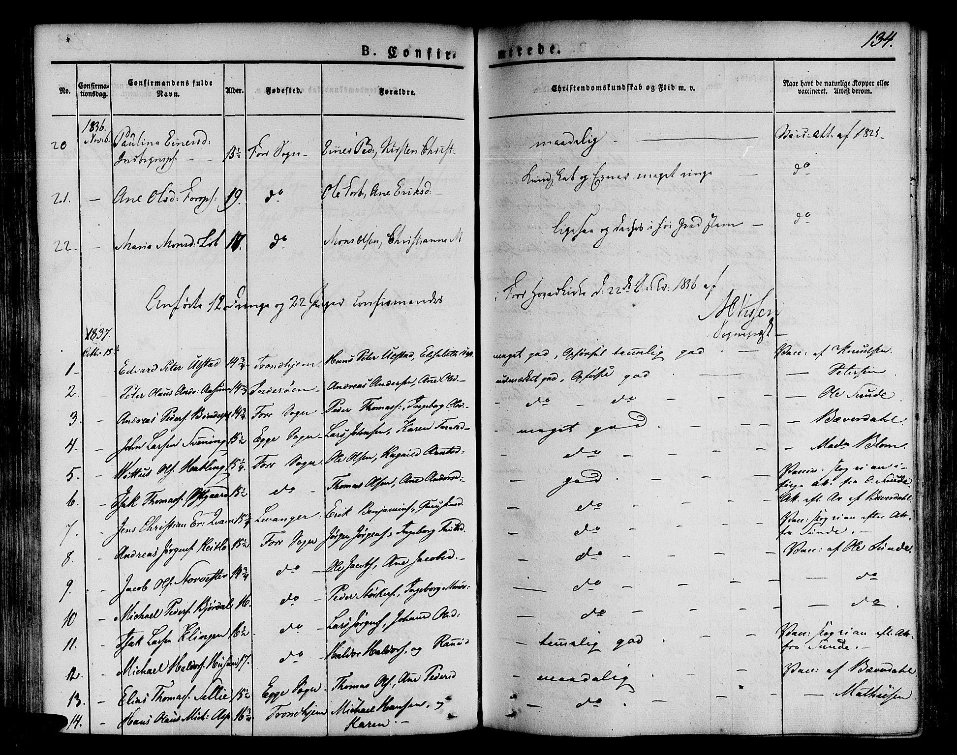 SAT, Ministerialprotokoller, klokkerbøker og fødselsregistre - Nord-Trøndelag, 746/L0445: Ministerialbok nr. 746A04, 1826-1846, s. 134