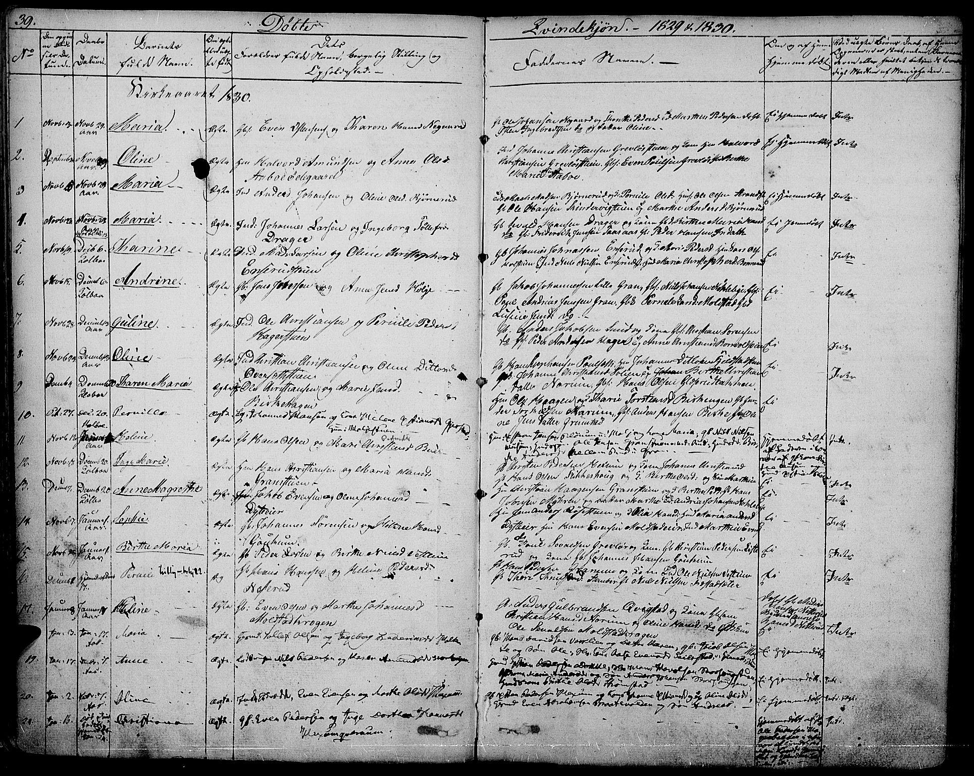 SAH, Vestre Toten prestekontor, Ministerialbok nr. 2, 1825-1837, s. 39