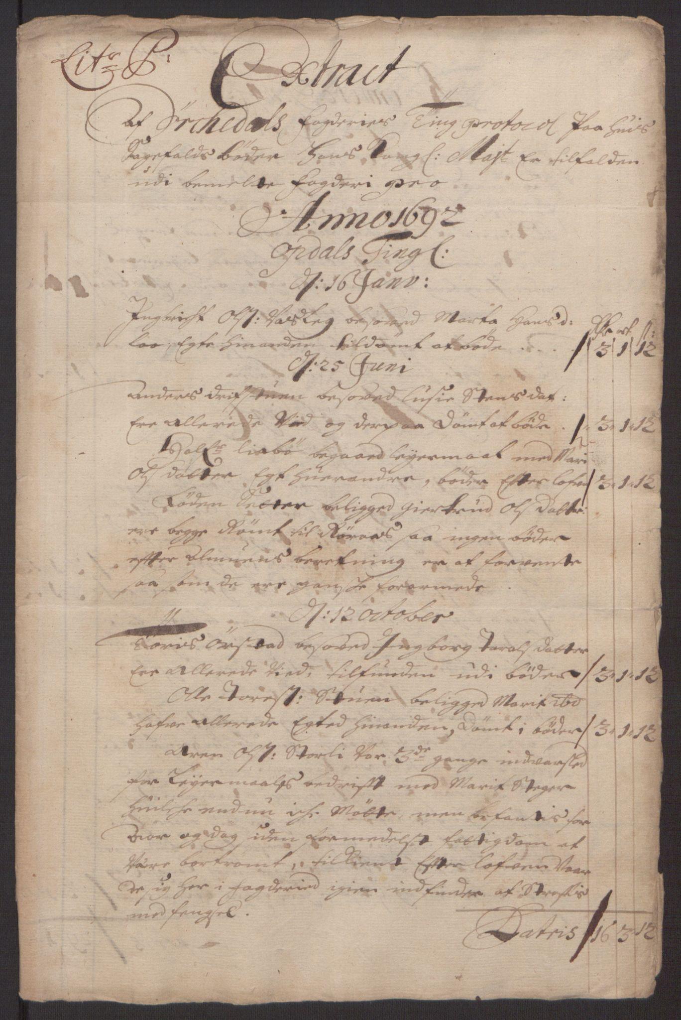 RA, Rentekammeret inntil 1814, Reviderte regnskaper, Fogderegnskap, R58/L3937: Fogderegnskap Orkdal, 1691-1692, s. 340