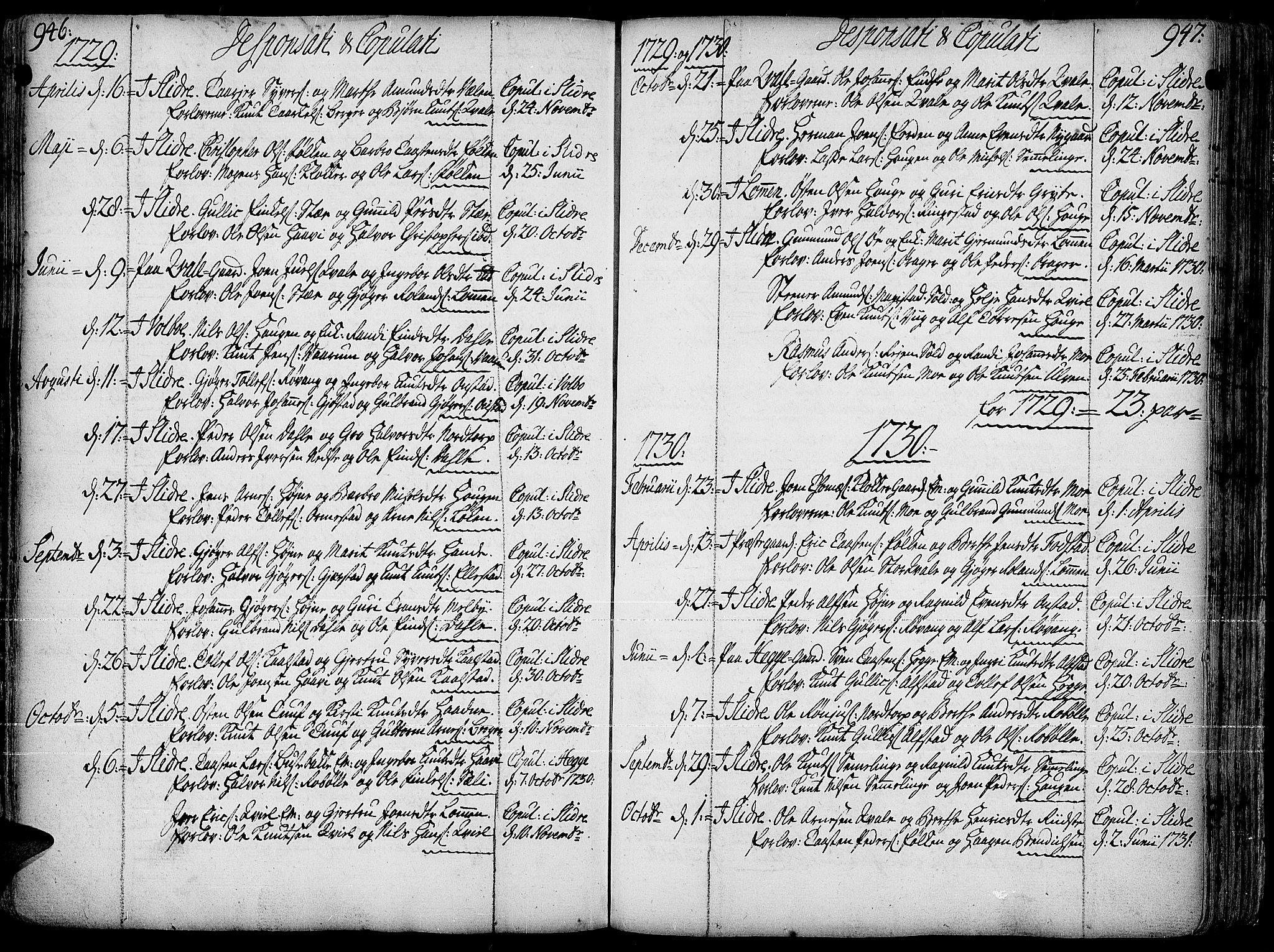 SAH, Slidre prestekontor, Ministerialbok nr. 1, 1724-1814, s. 946-947