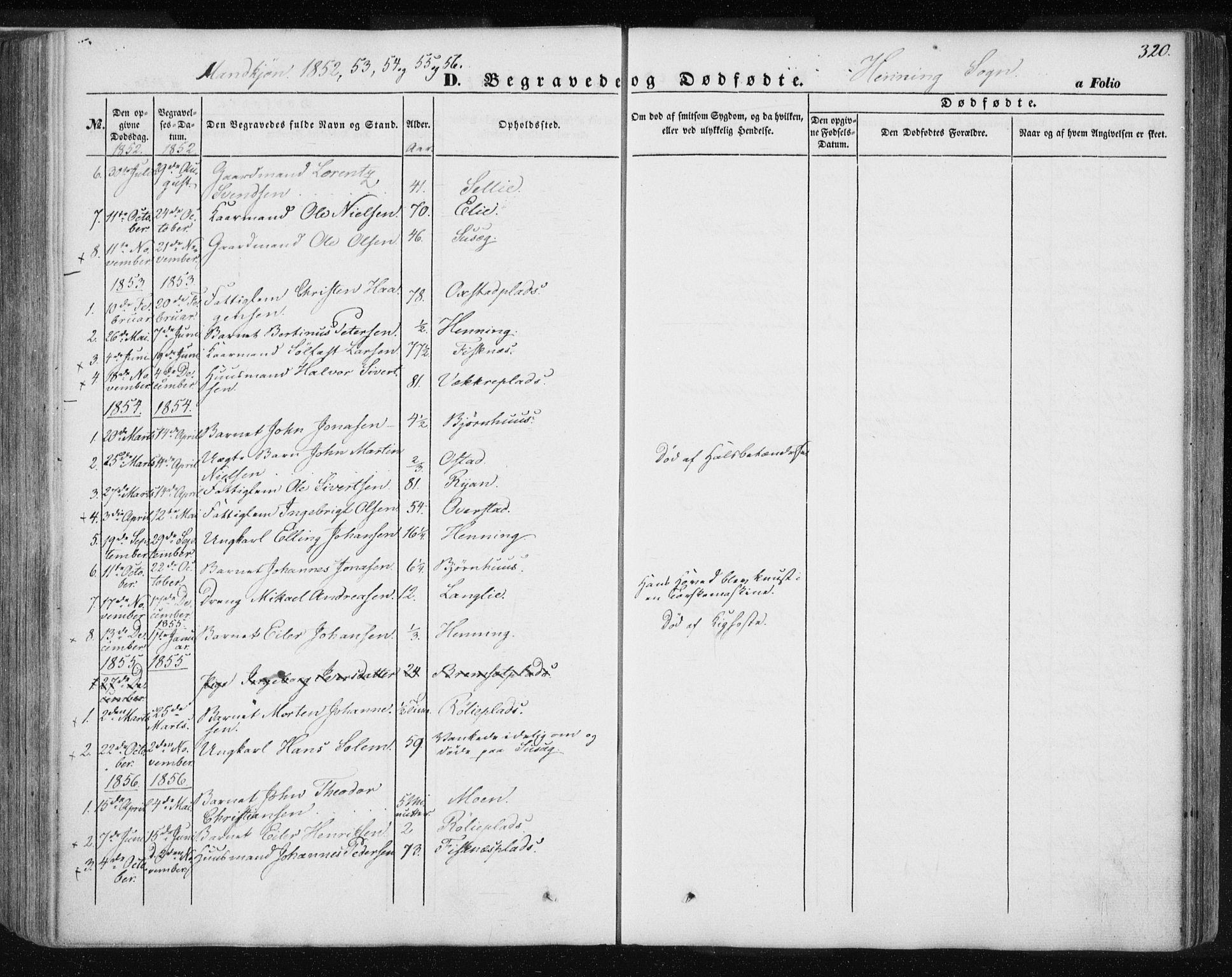 SAT, Ministerialprotokoller, klokkerbøker og fødselsregistre - Nord-Trøndelag, 735/L0342: Ministerialbok nr. 735A07 /3, 1849-1862, s. 320