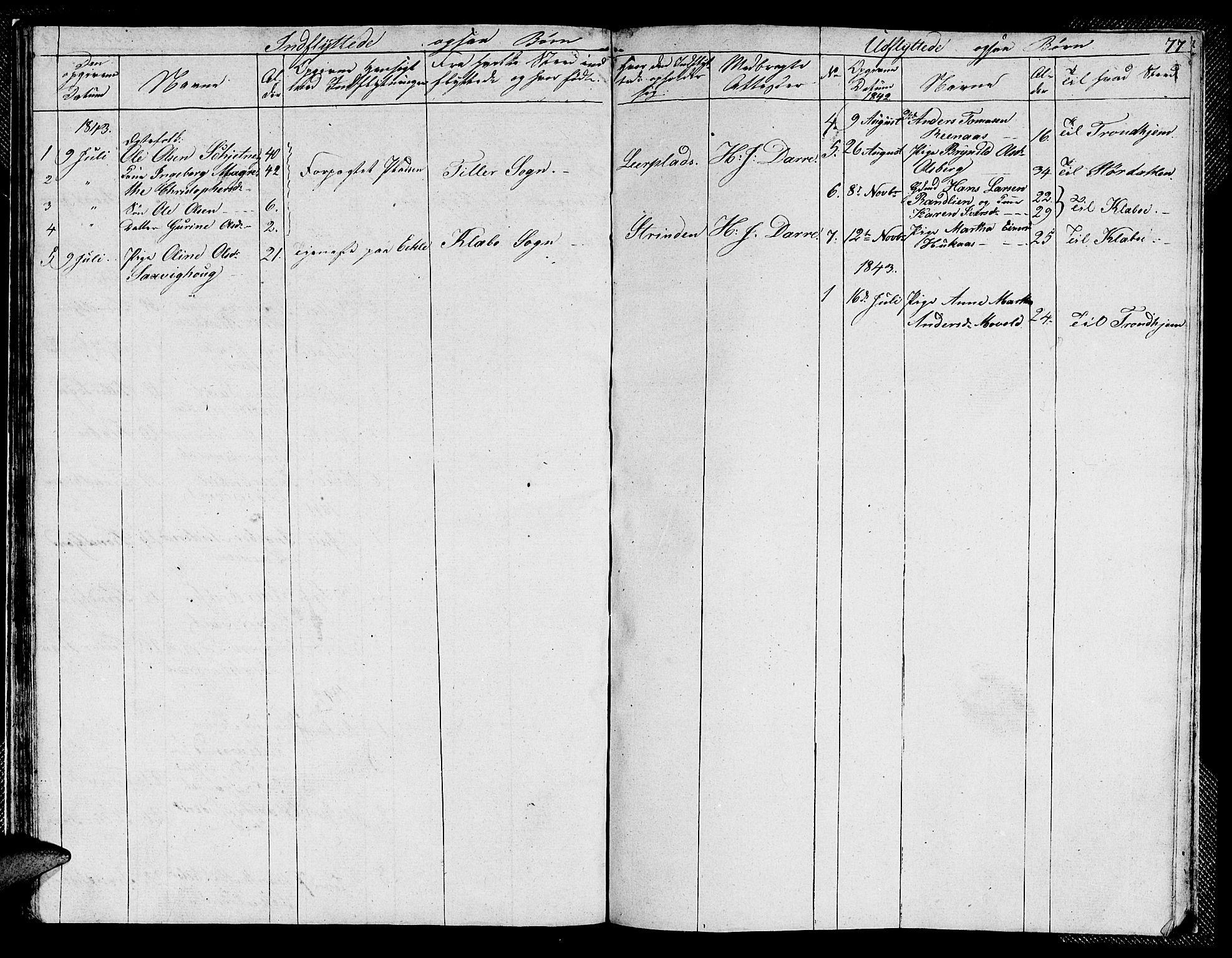SAT, Ministerialprotokoller, klokkerbøker og fødselsregistre - Sør-Trøndelag, 608/L0338: Klokkerbok nr. 608C04, 1831-1843, s. 77