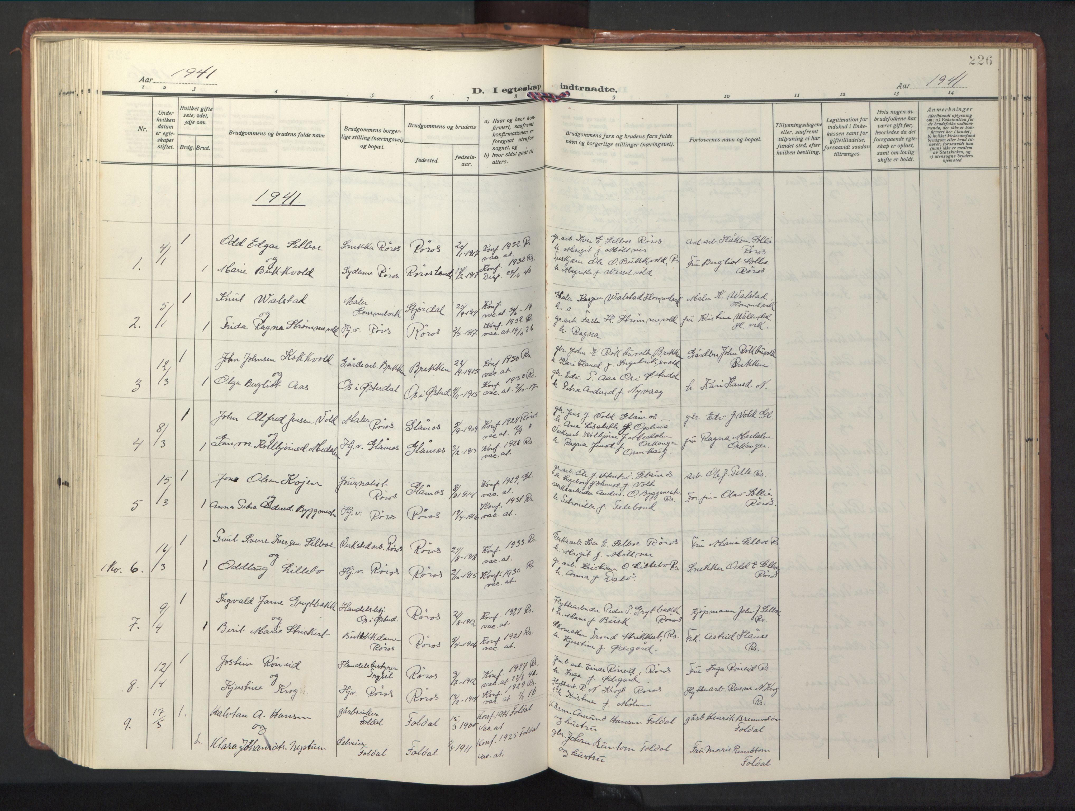 SAT, Ministerialprotokoller, klokkerbøker og fødselsregistre - Sør-Trøndelag, 681/L0943: Klokkerbok nr. 681C07, 1926-1954, s. 226