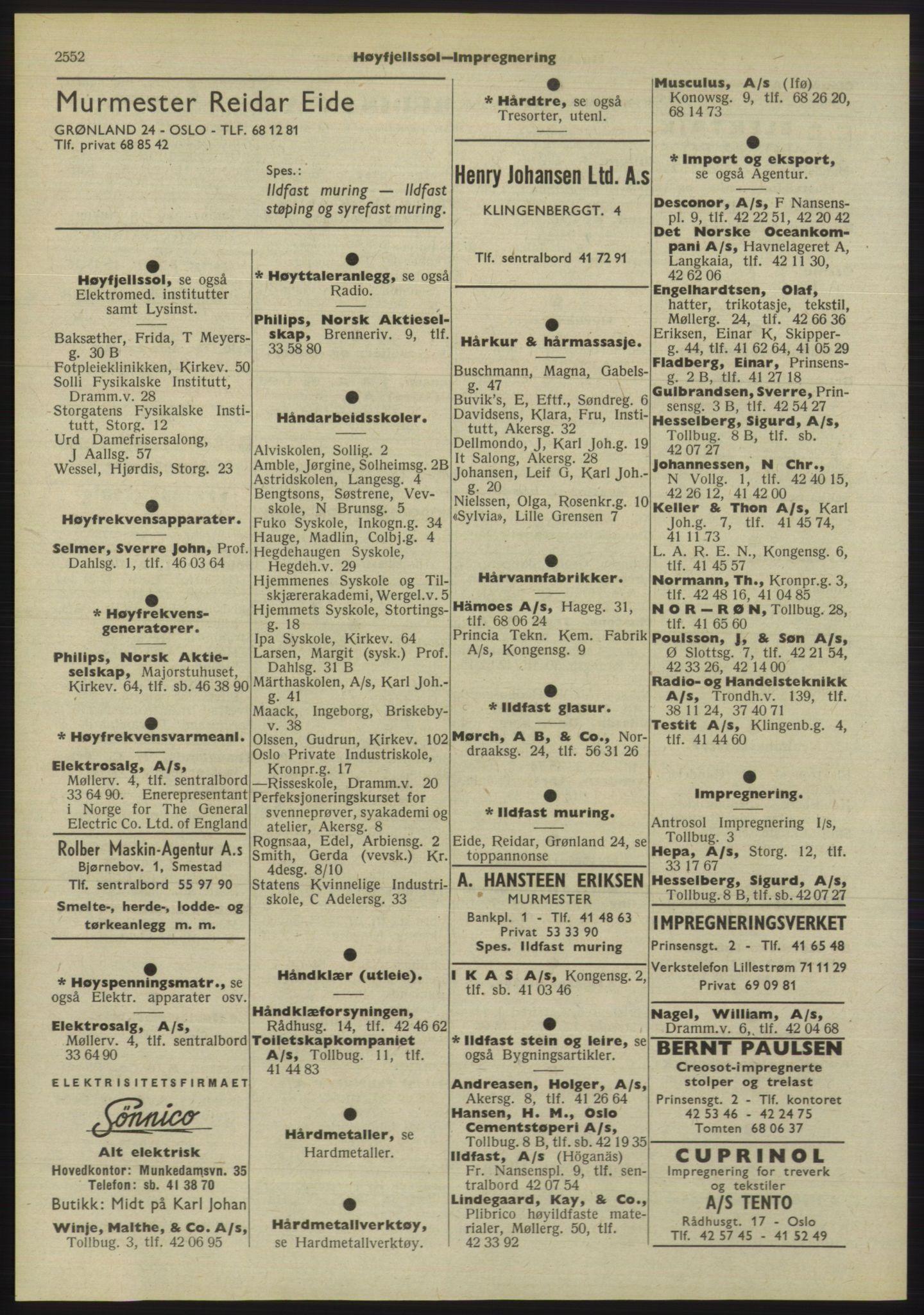 RA, Oslo adressebok (publikasjon)*, 1955, s. 2552