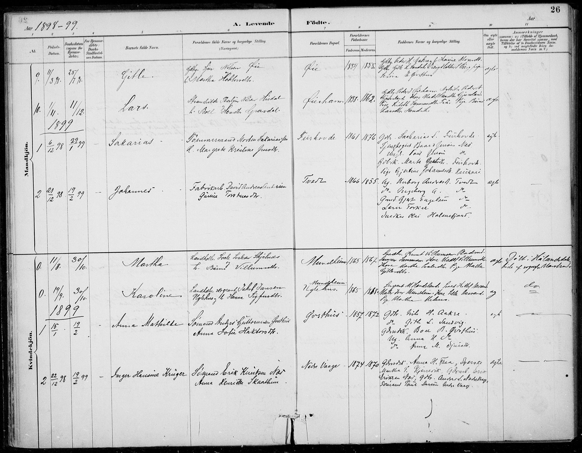 SAB, Strandebarm sokneprestembete, H/Haa: Ministerialbok nr. D  1, 1886-1912, s. 26