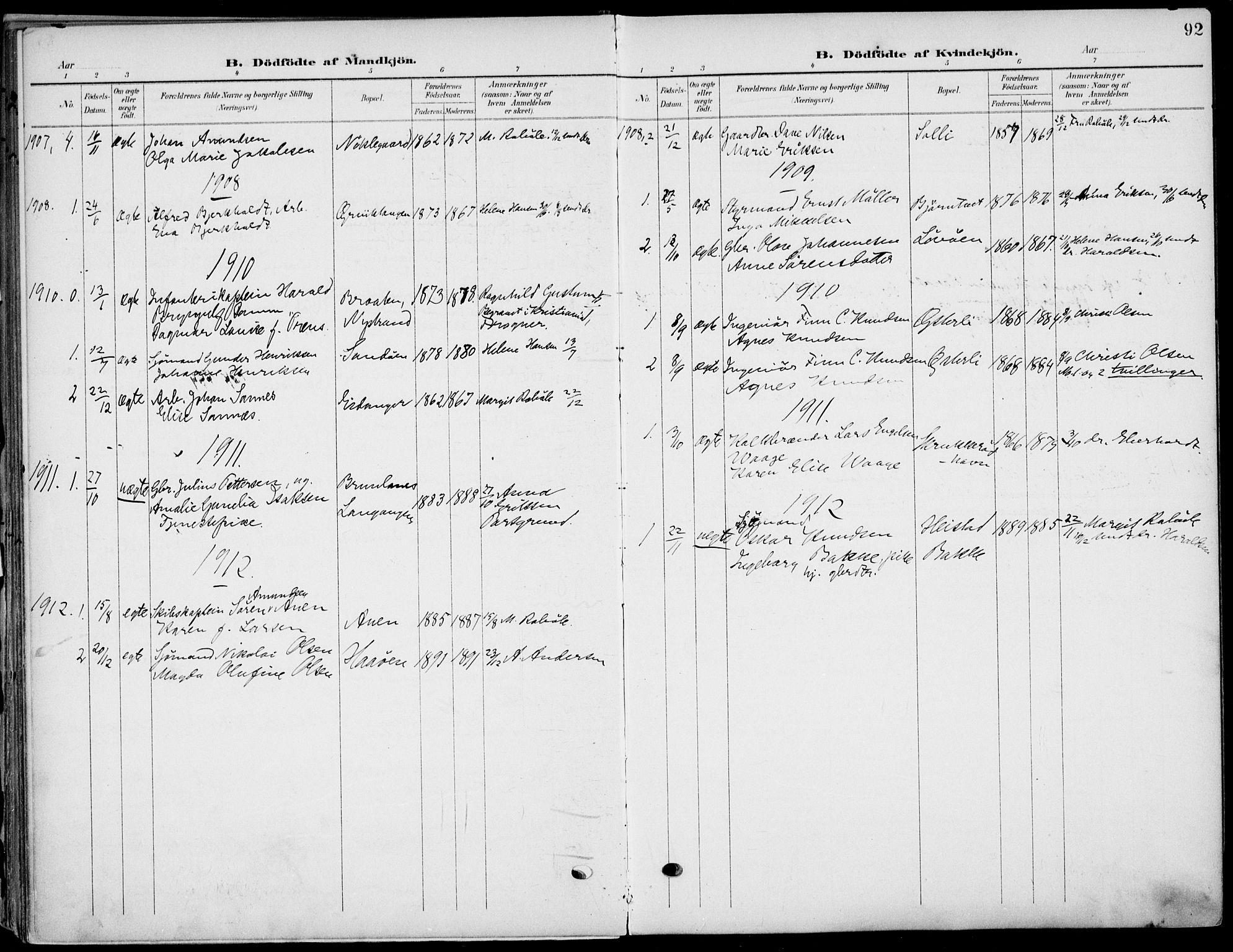 SAKO, Eidanger kirkebøker, F/Fa/L0013: Ministerialbok nr. 13, 1900-1913, s. 92