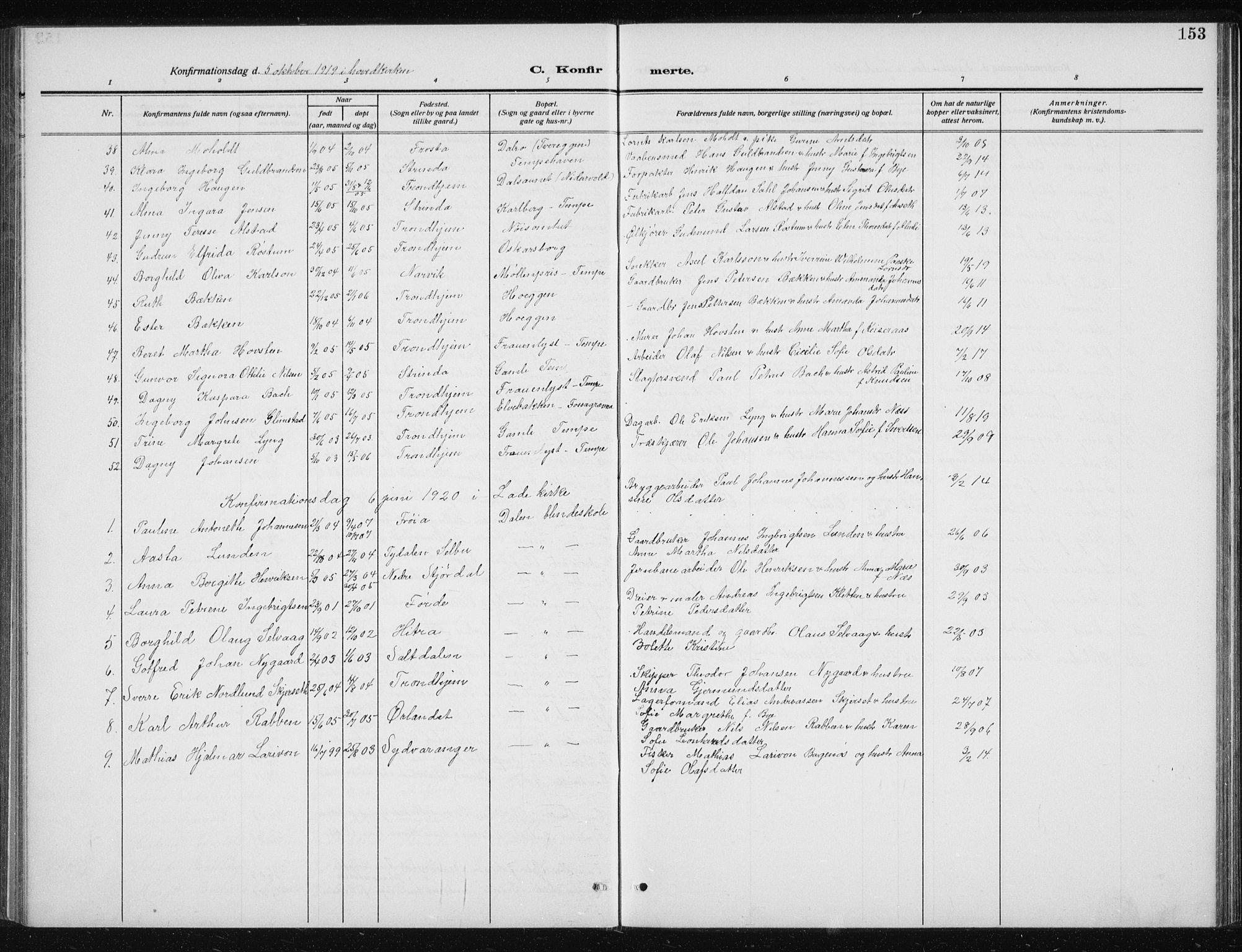 SAT, Ministerialprotokoller, klokkerbøker og fødselsregistre - Sør-Trøndelag, 606/L0314: Klokkerbok nr. 606C10, 1911-1937, s. 153