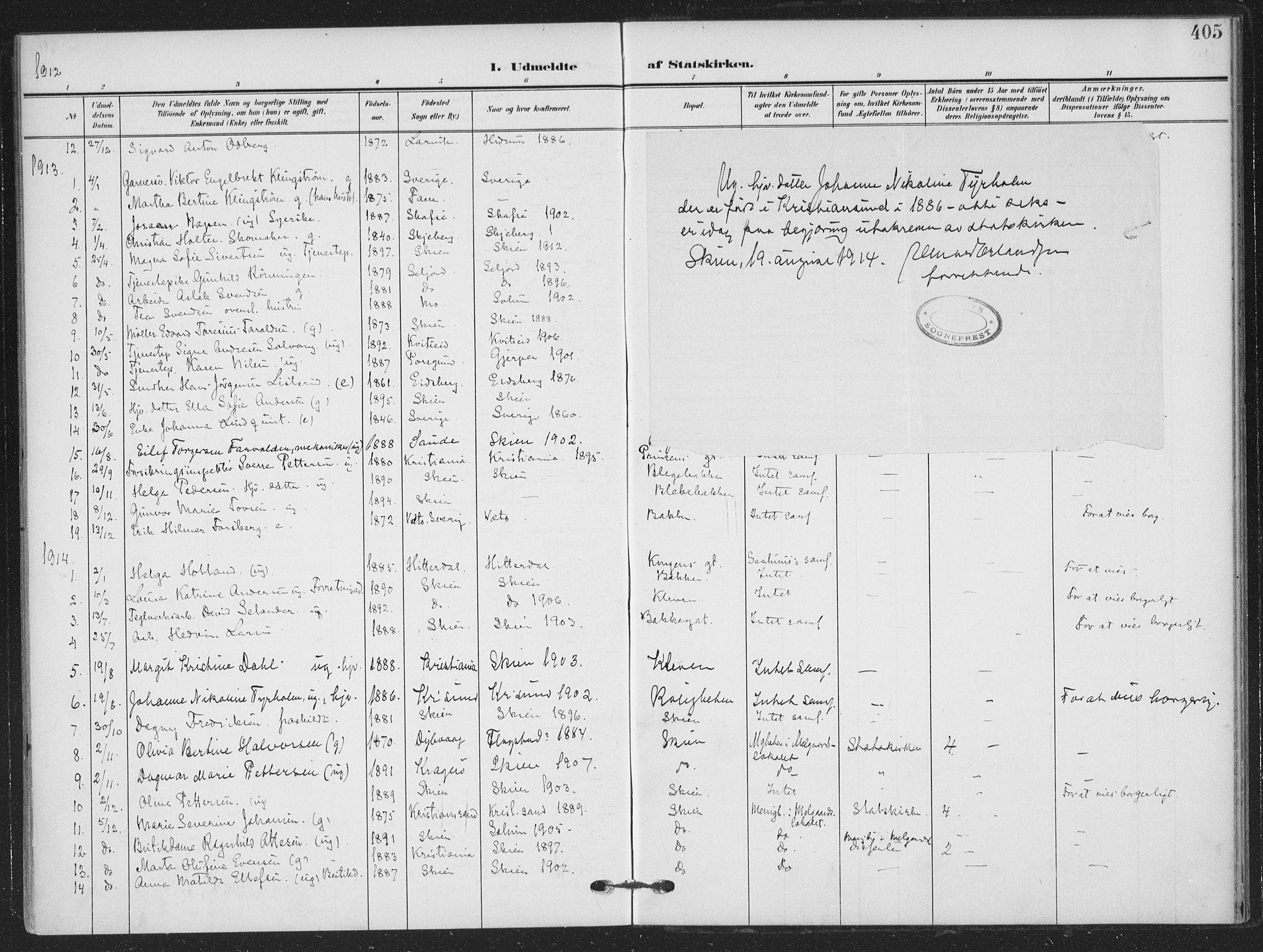 SAKO, Skien kirkebøker, F/Fa/L0012: Ministerialbok nr. 12, 1908-1914, s. 405
