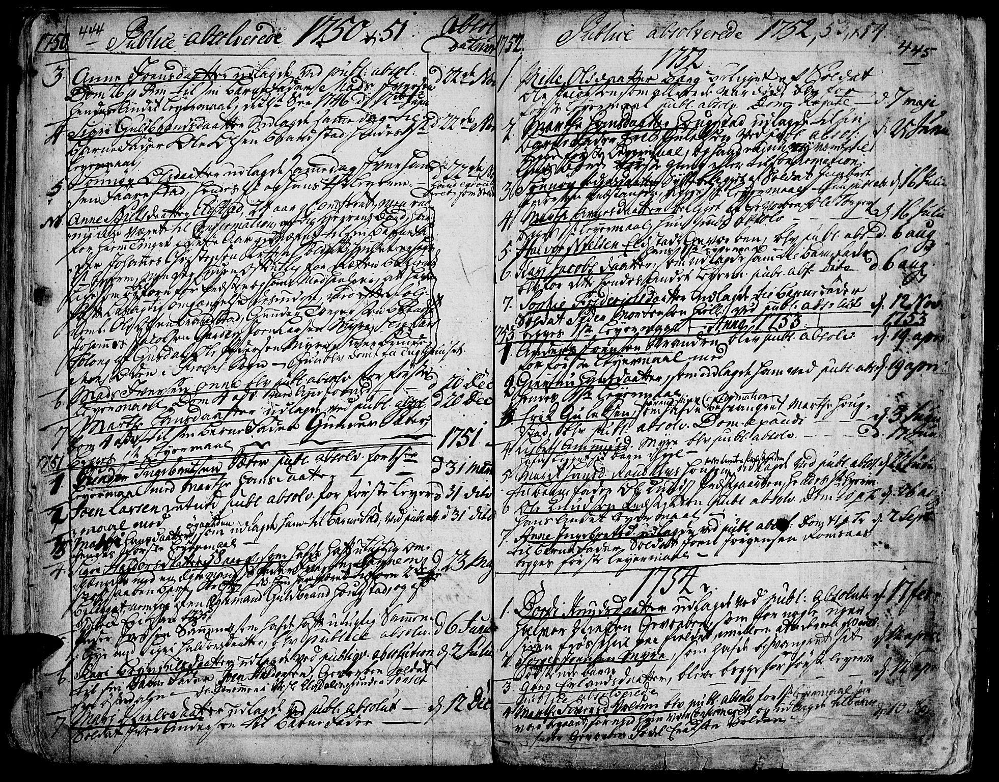 SAH, Ringebu prestekontor, Ministerialbok nr. 2, 1734-1780, s. 444-445