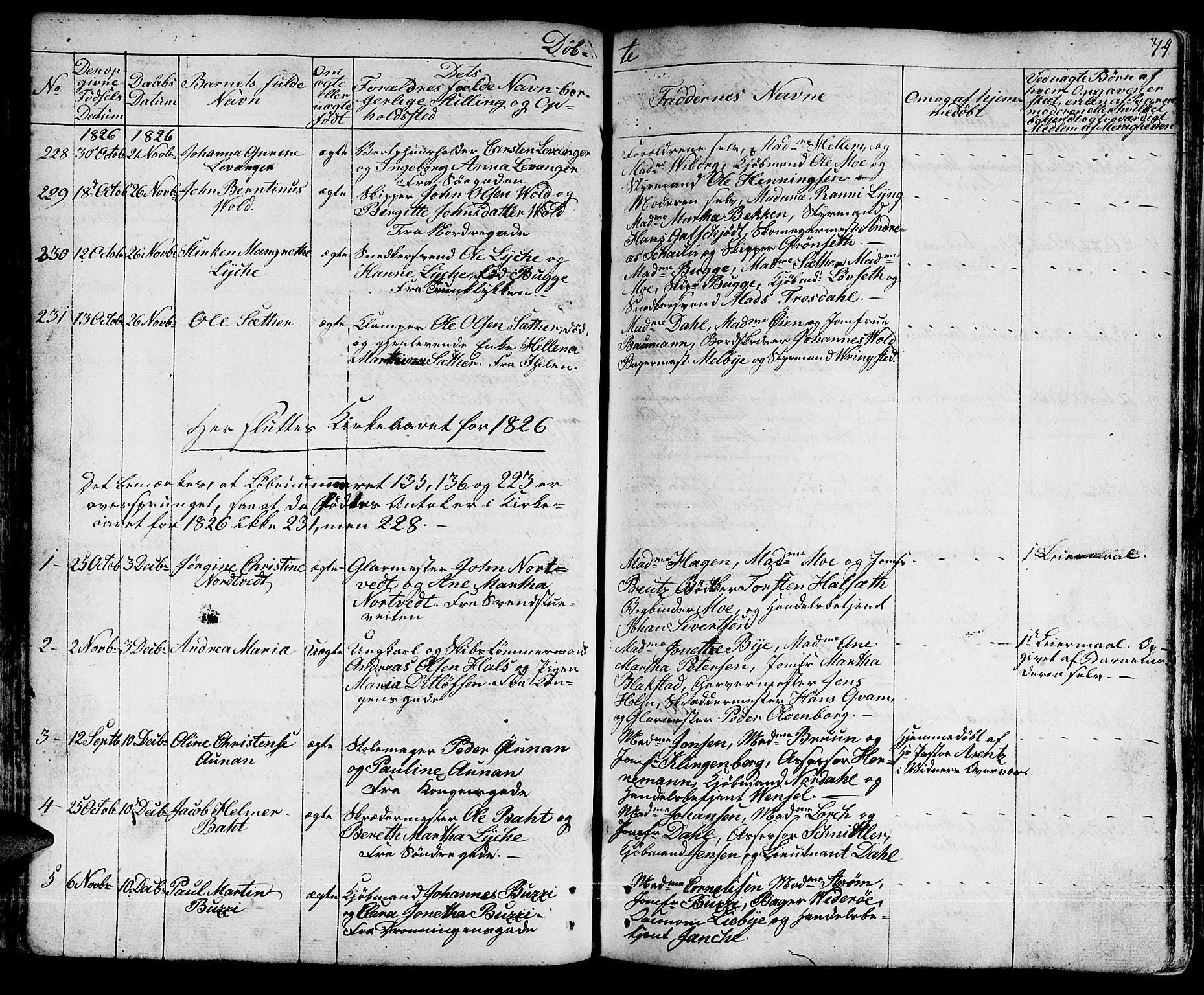 SAT, Ministerialprotokoller, klokkerbøker og fødselsregistre - Sør-Trøndelag, 601/L0045: Ministerialbok nr. 601A13, 1821-1831, s. 74