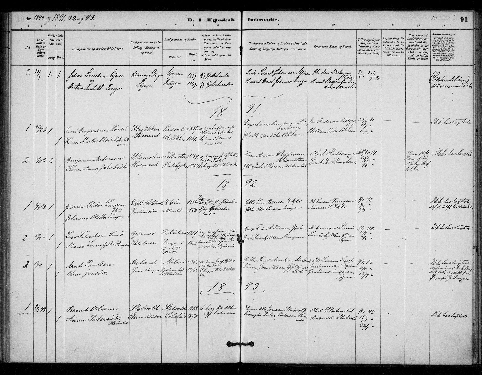 SAT, Ministerialprotokoller, klokkerbøker og fødselsregistre - Sør-Trøndelag, 670/L0836: Ministerialbok nr. 670A01, 1879-1904, s. 91