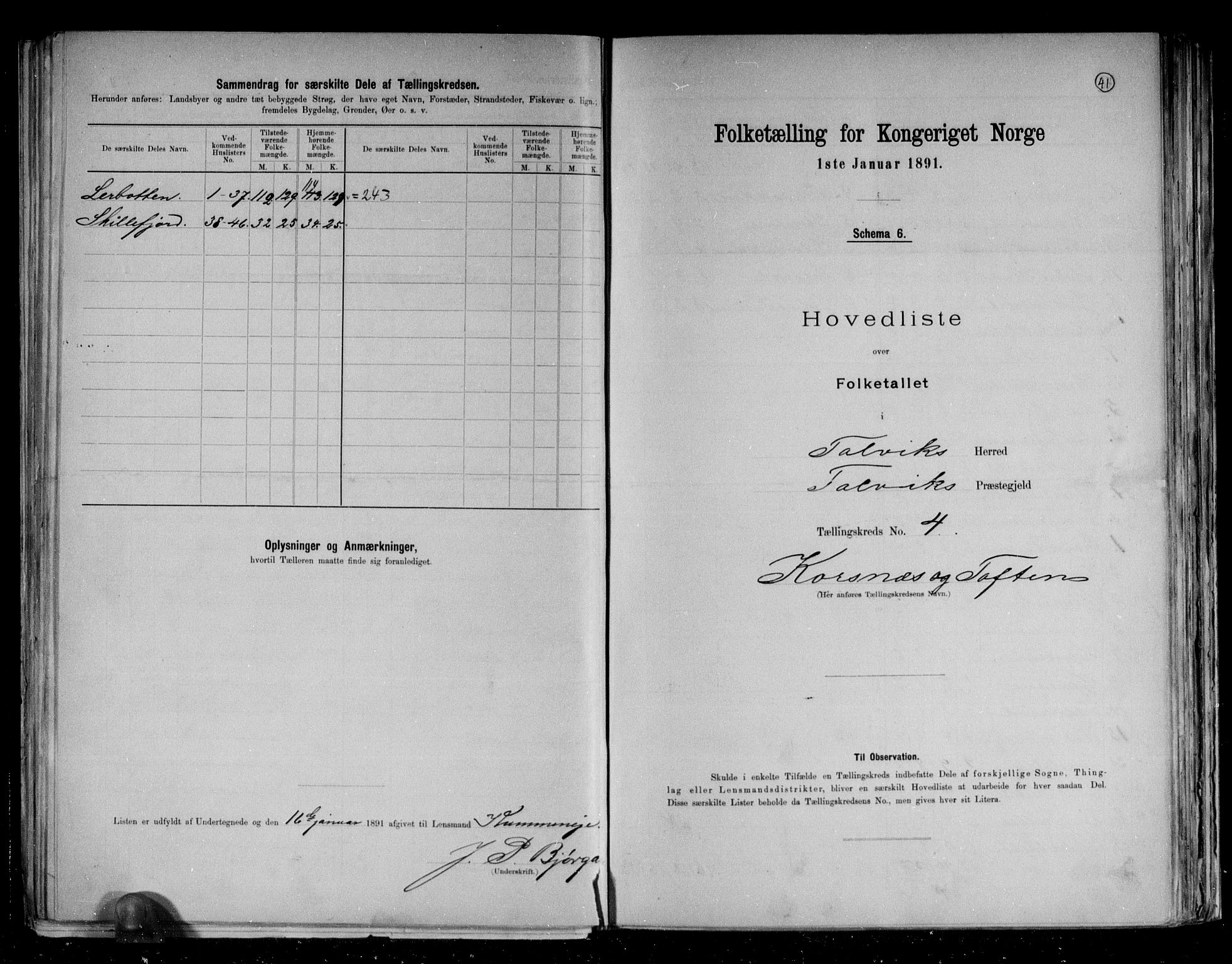 RA, Folketelling 1891 for 2013 Talvik herred, 1891, s. 14