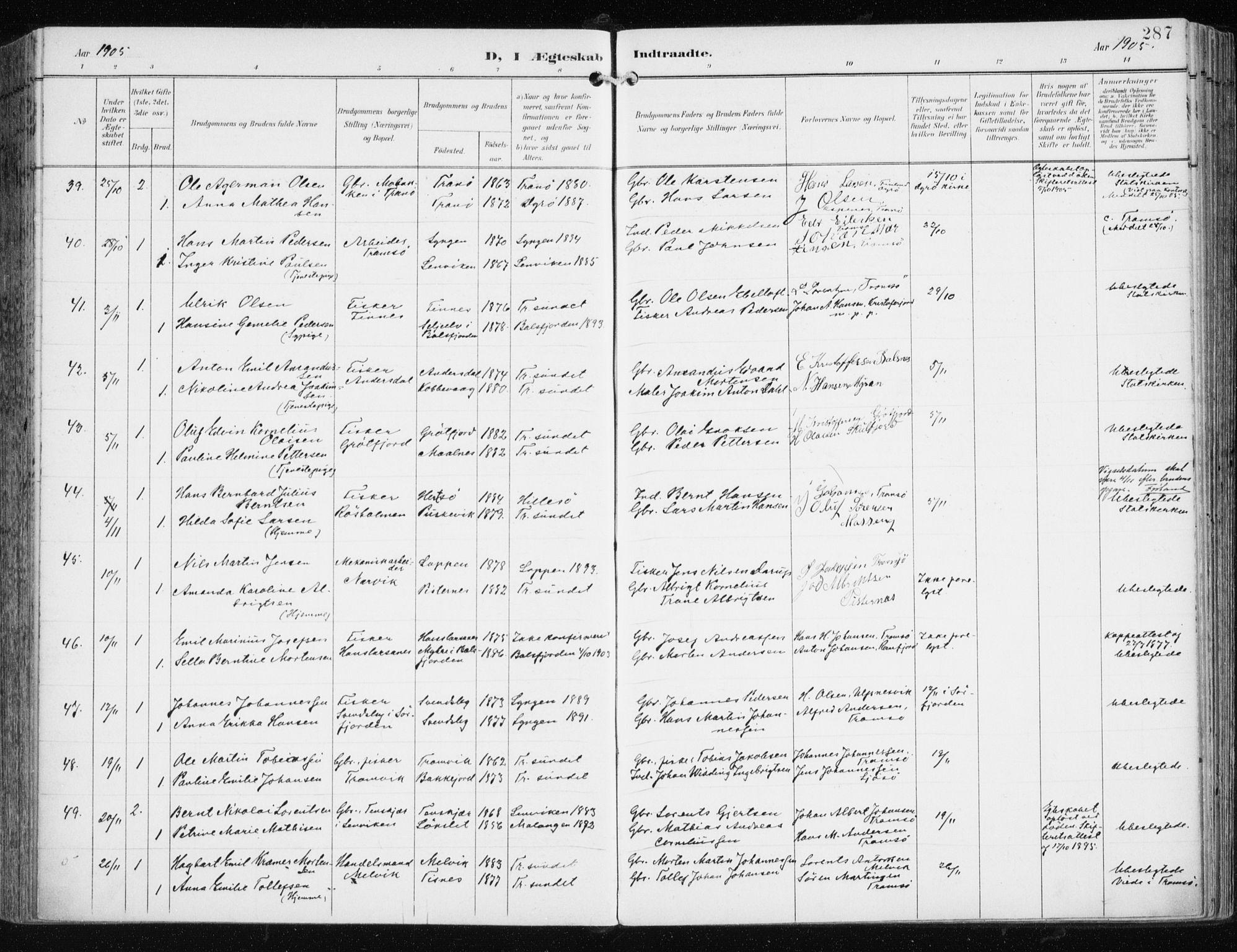 SATØ, Tromsøysund sokneprestkontor, G/Ga/L0006kirke: Ministerialbok nr. 6, 1897-1906, s. 287