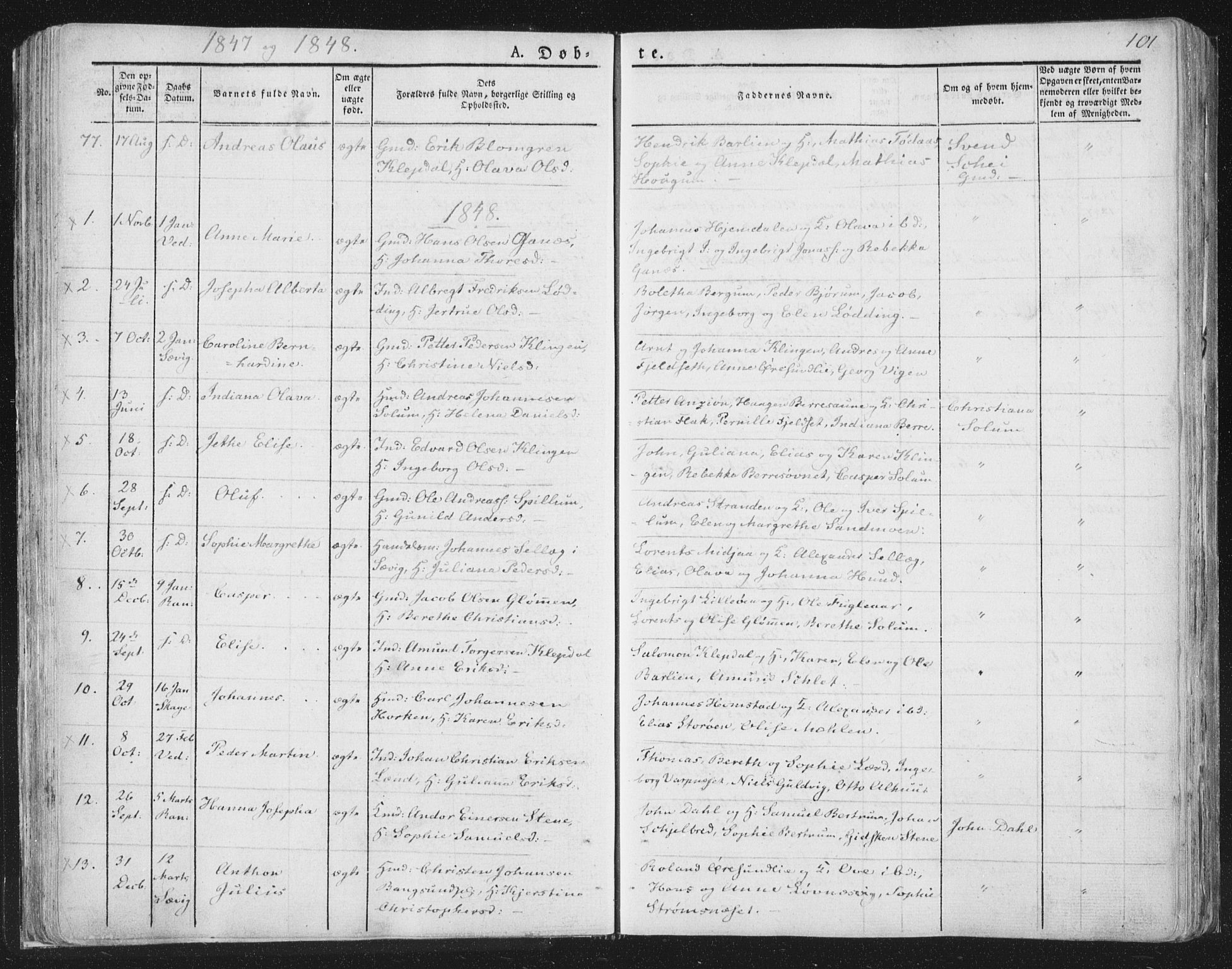 SAT, Ministerialprotokoller, klokkerbøker og fødselsregistre - Nord-Trøndelag, 764/L0551: Ministerialbok nr. 764A07a, 1824-1864, s. 101