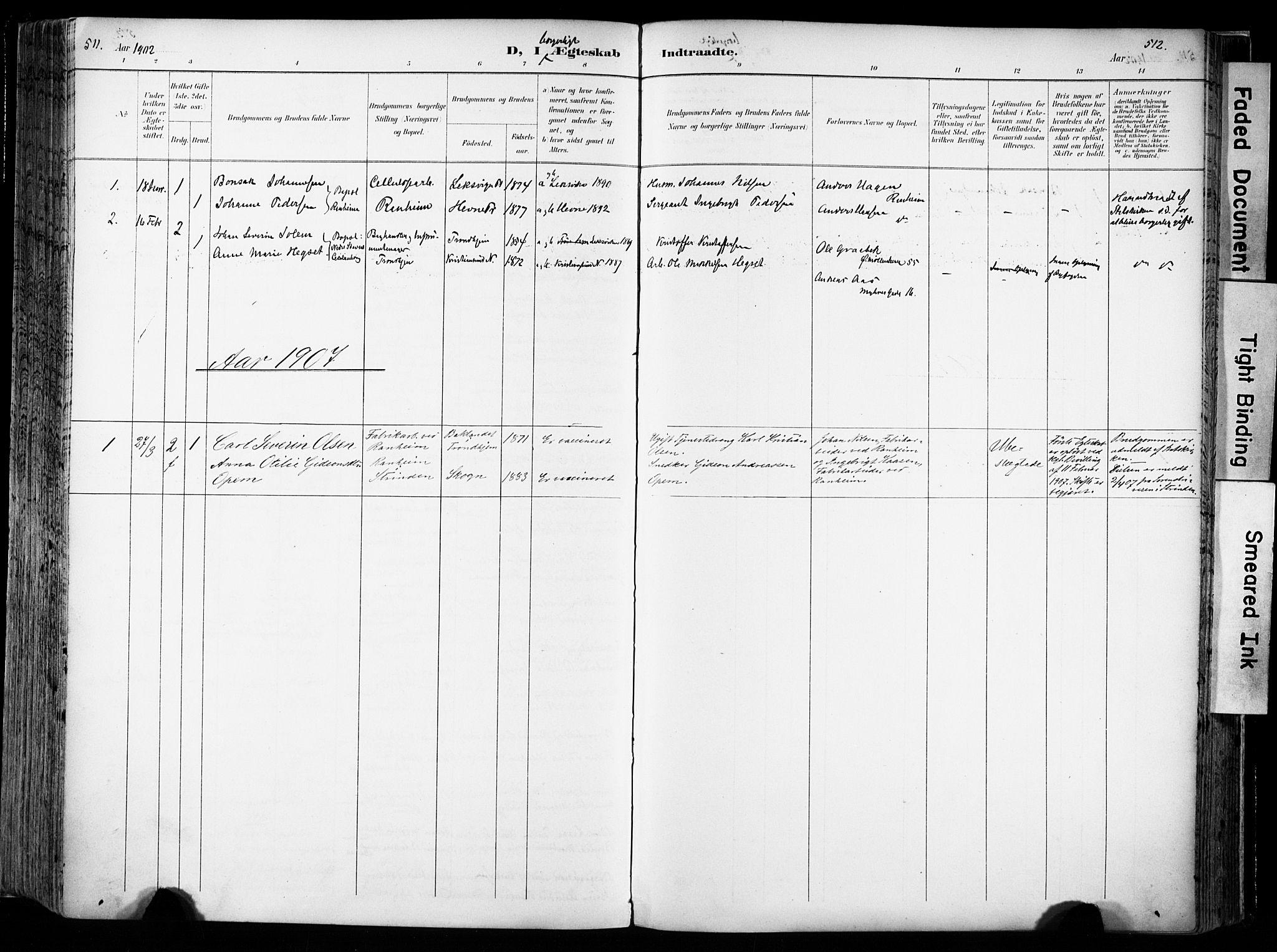 SAT, Ministerialprotokoller, klokkerbøker og fødselsregistre - Sør-Trøndelag, 606/L0301: Ministerialbok nr. 606A16, 1894-1907, s. 511-512