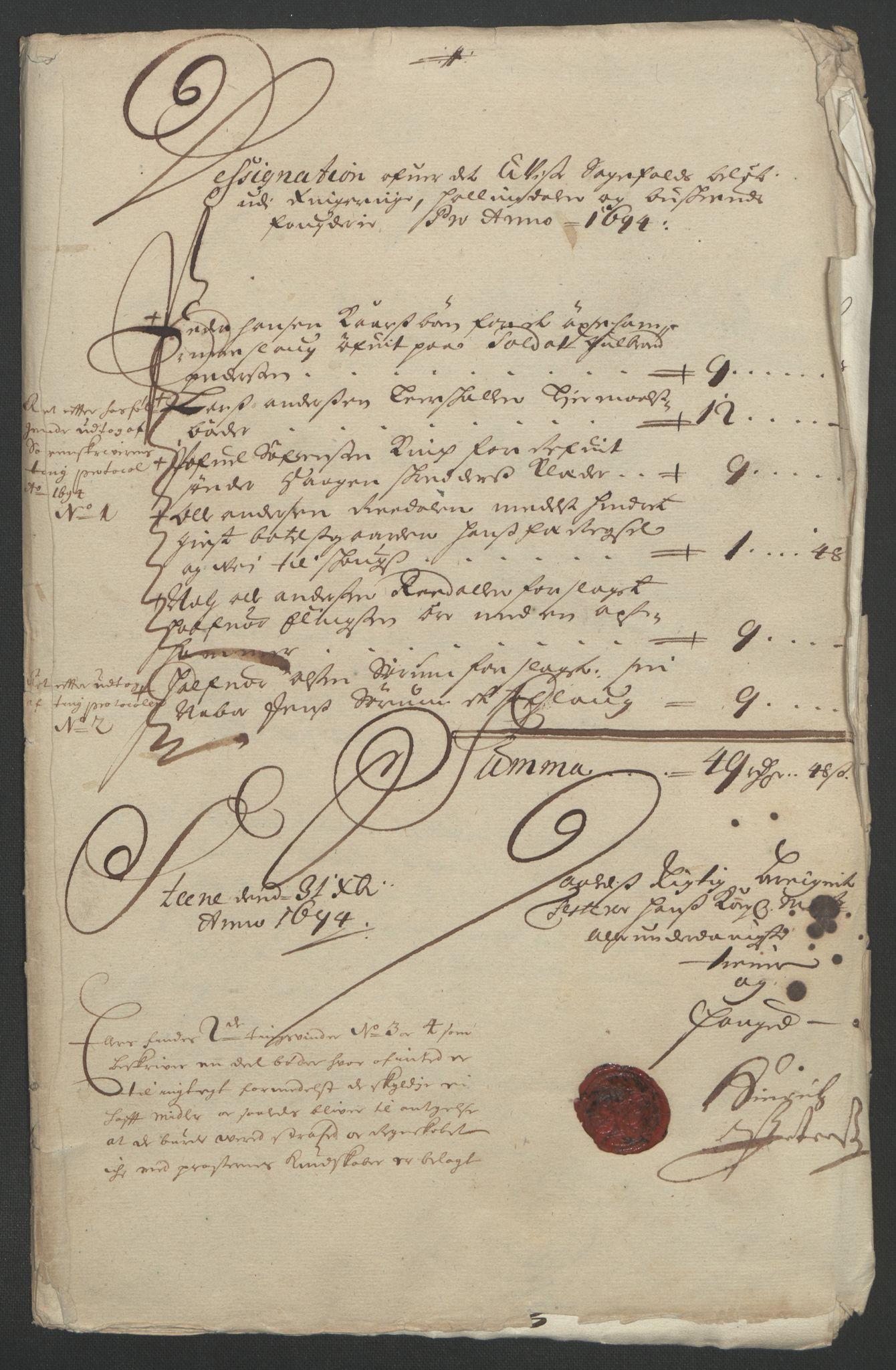 RA, Rentekammeret inntil 1814, Reviderte regnskaper, Fogderegnskap, R22/L1451: Fogderegnskap Ringerike, Hallingdal og Buskerud, 1694, s. 219