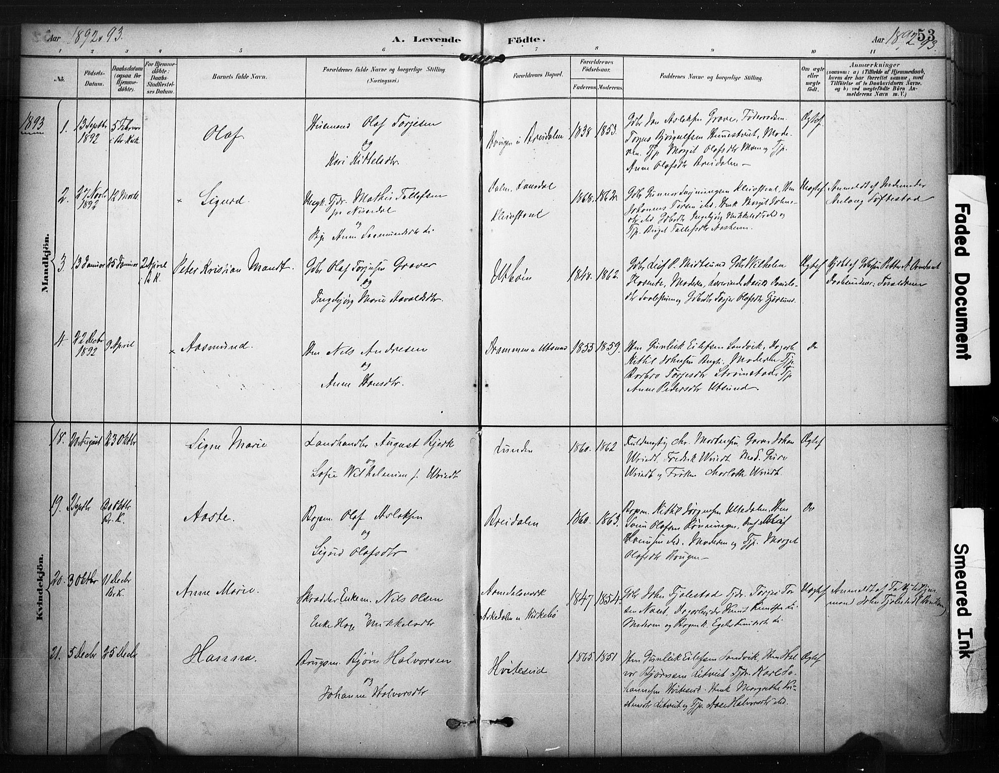 SAKO, Kviteseid kirkebøker, F/Fa/L0008: Ministerialbok nr. I 8, 1882-1903, s. 53