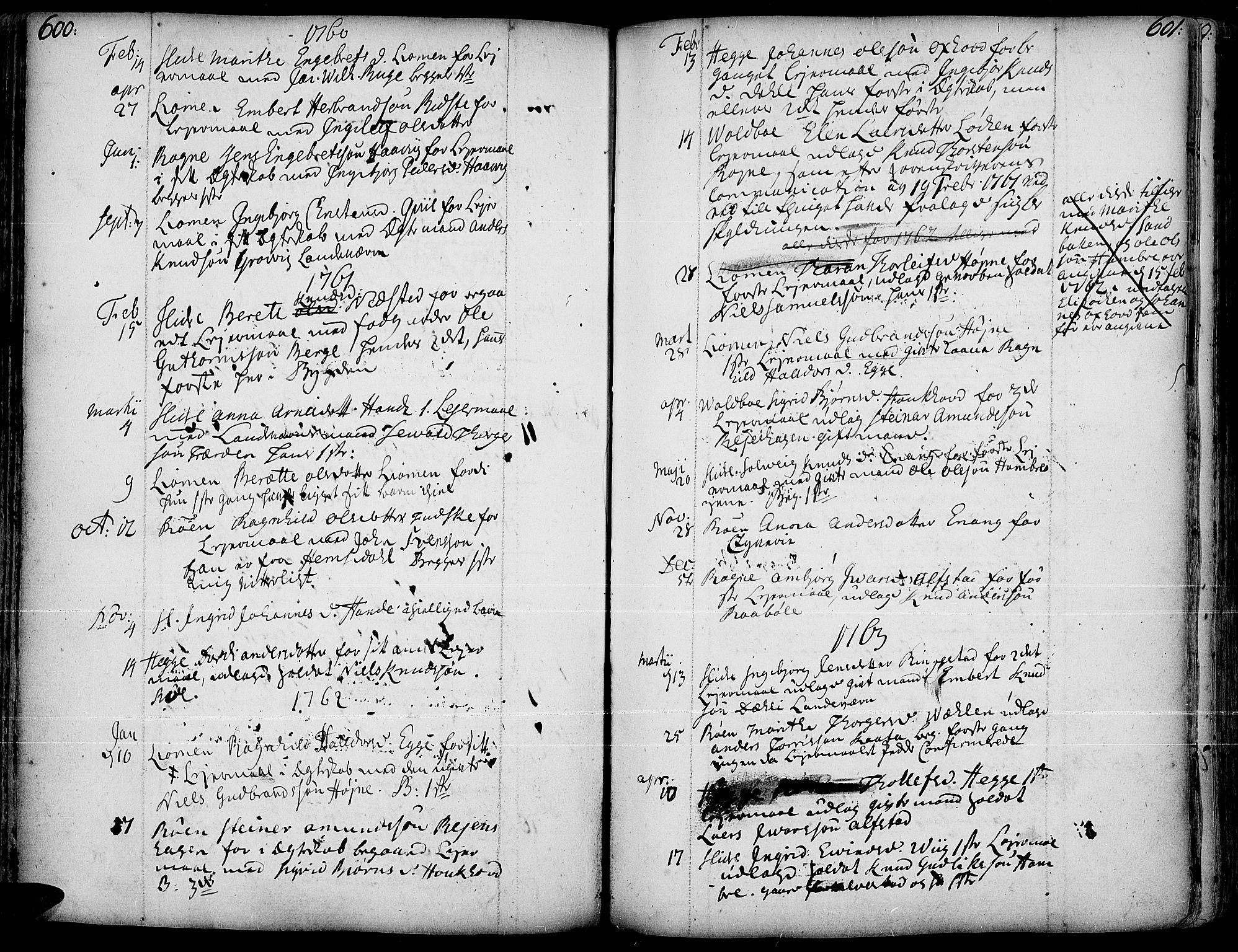 SAH, Slidre prestekontor, Ministerialbok nr. 1, 1724-1814, s. 600-601