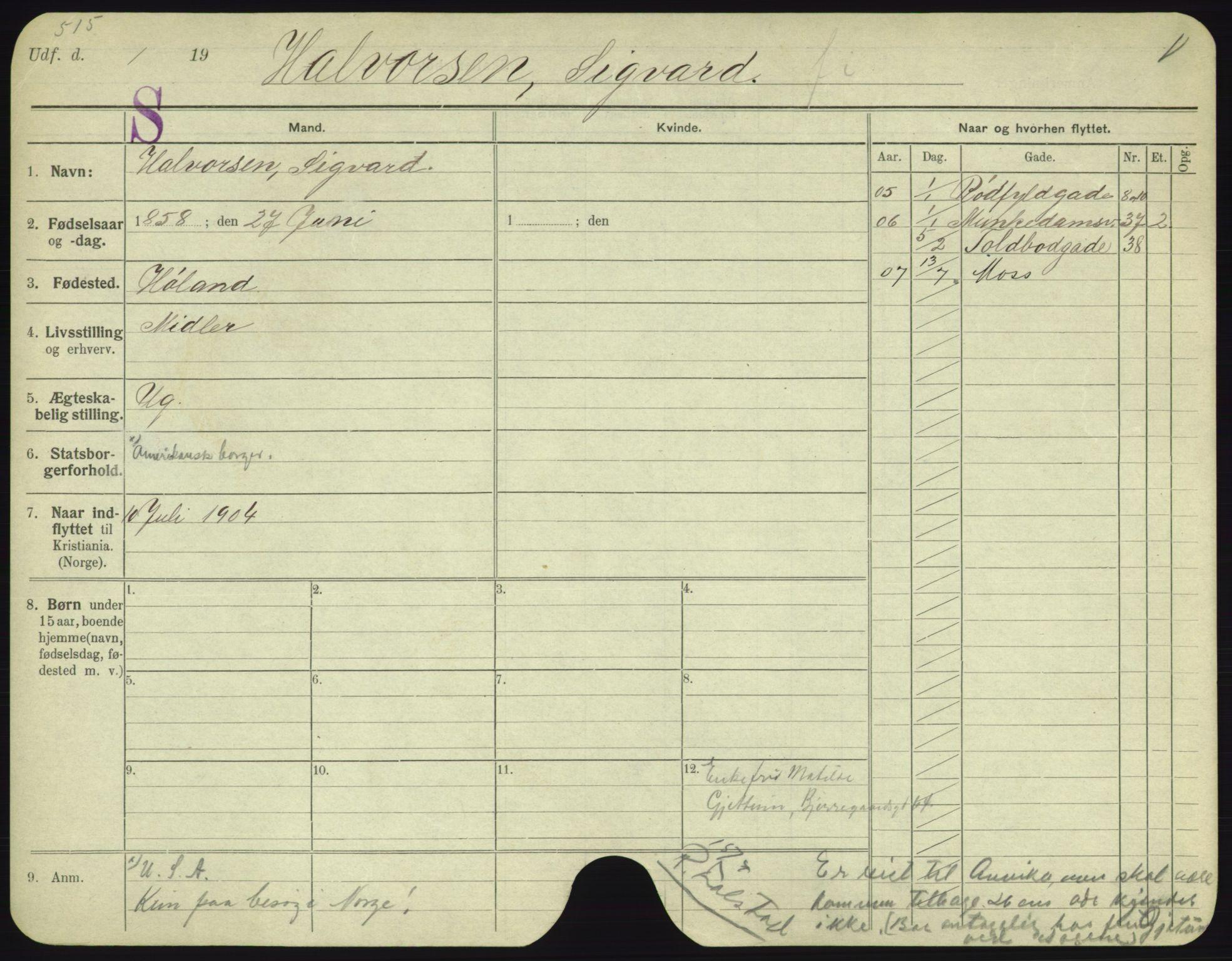 SAO, Oslo folkeregister, Registerkort, F/Fa/Fac/L0003: Menn, 1906-1914, s. 1151a