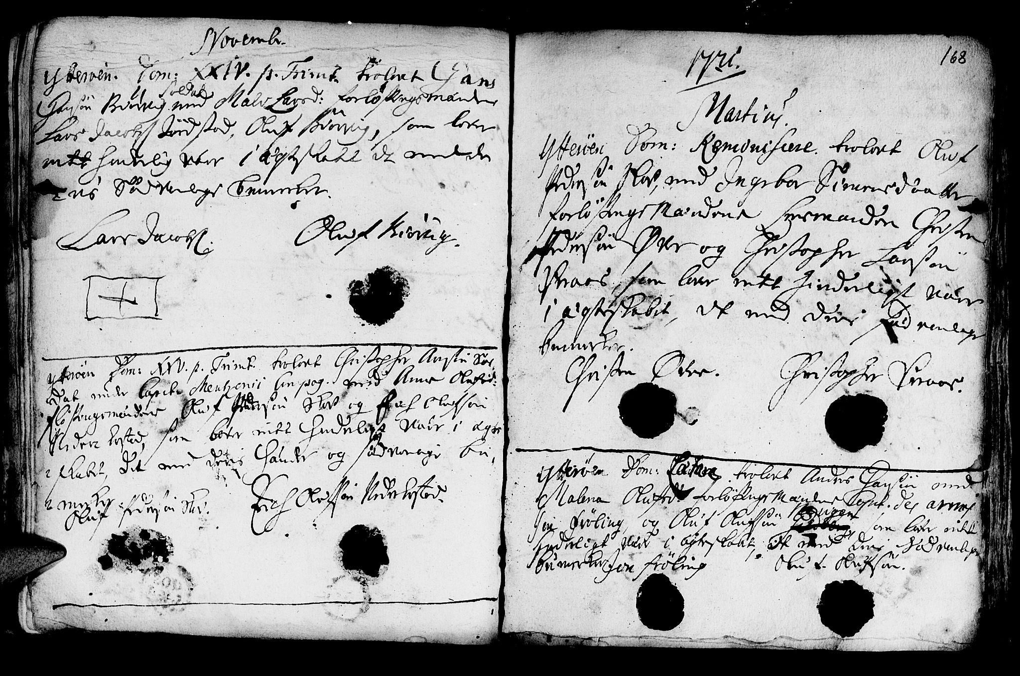 SAT, Ministerialprotokoller, klokkerbøker og fødselsregistre - Nord-Trøndelag, 722/L0215: Ministerialbok nr. 722A02, 1718-1755, s. 168