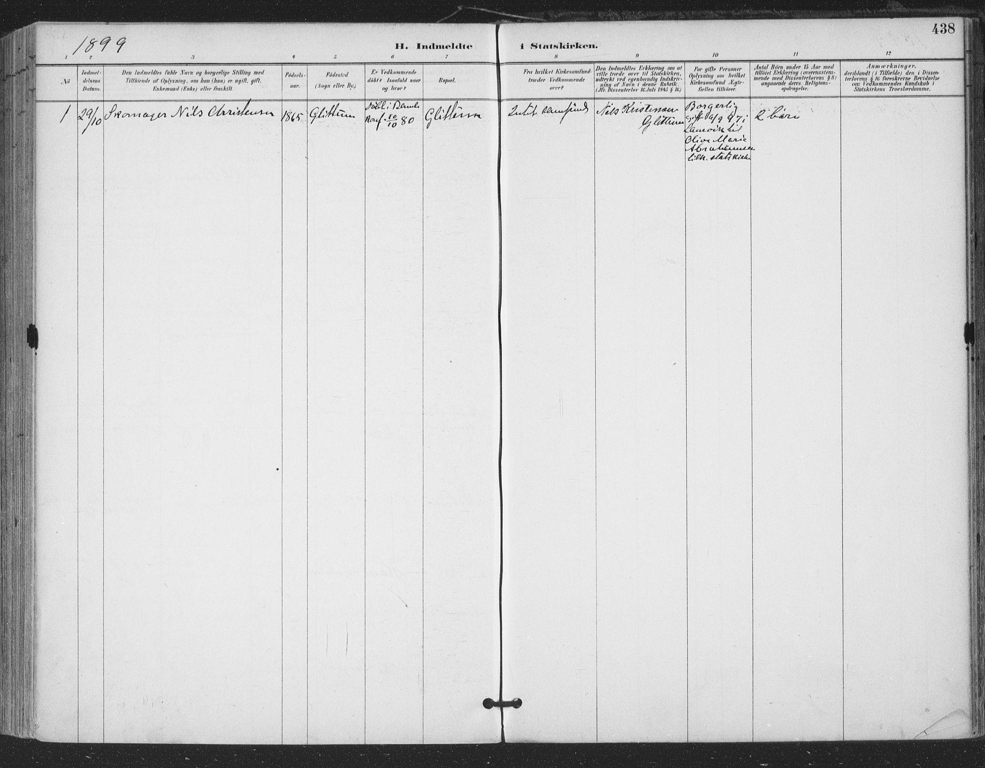 SAKO, Bamble kirkebøker, F/Fa/L0008: Ministerialbok nr. I 8, 1888-1900, s. 438