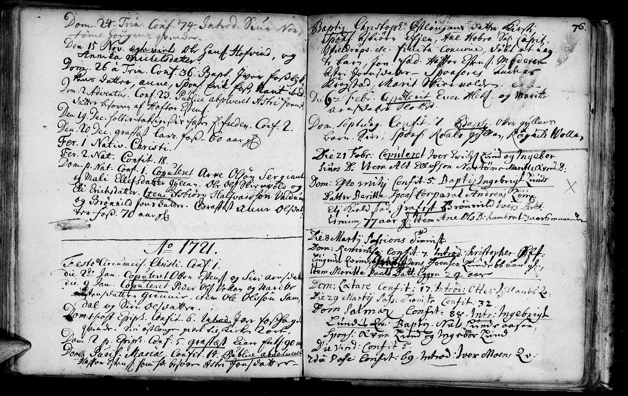 SAT, Ministerialprotokoller, klokkerbøker og fødselsregistre - Sør-Trøndelag, 692/L1101: Ministerialbok nr. 692A01, 1690-1746, s. 76