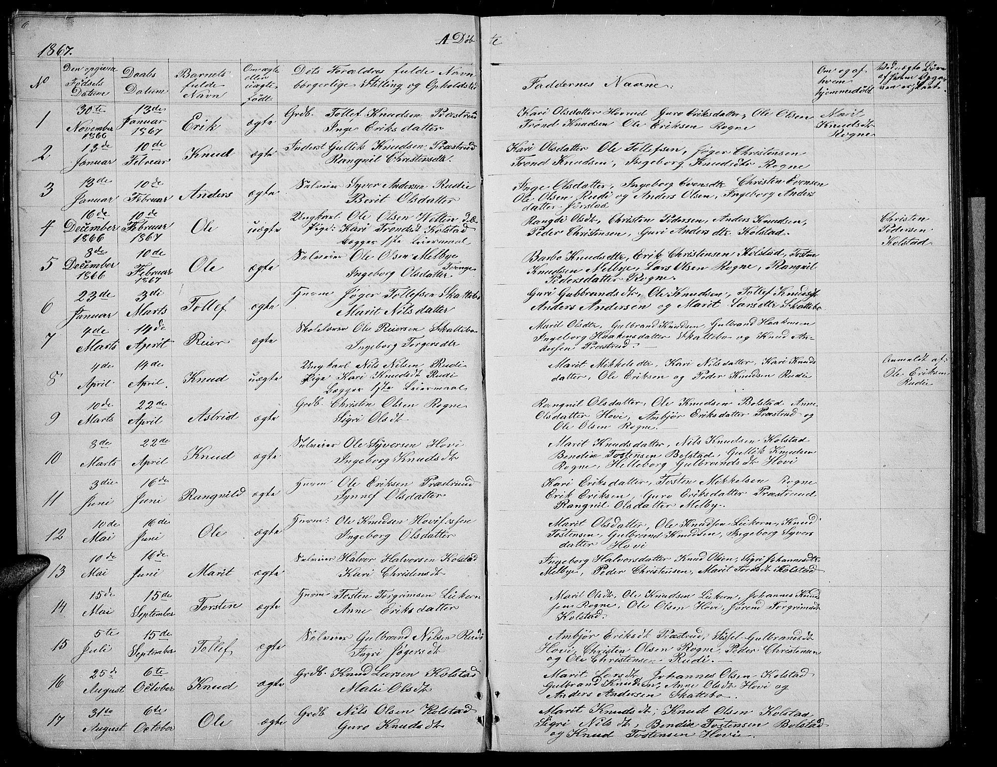 SAH, Øystre Slidre prestekontor, Klokkerbok nr. 3, 1866-1886, s. 6-7