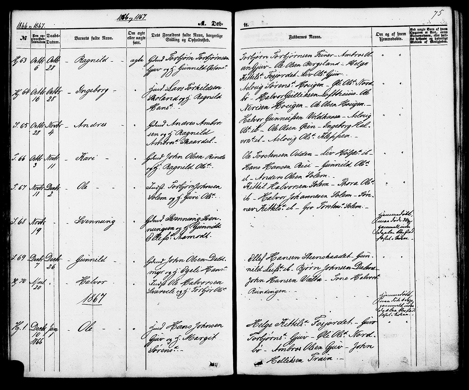 SAKO, Hjartdal kirkebøker, F/Fa/L0009: Ministerialbok nr. I 9, 1860-1879, s. 75
