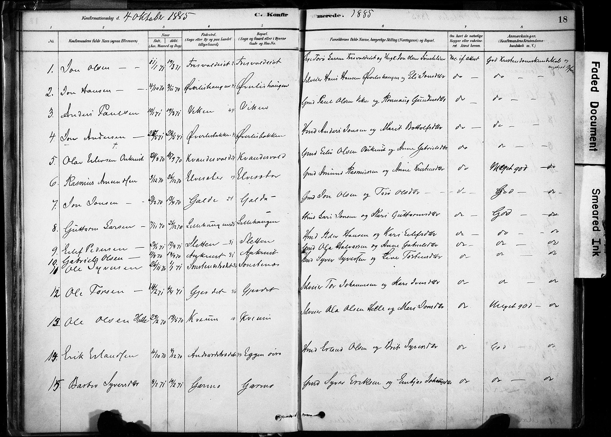 SAH, Lom prestekontor, K/L0009: Ministerialbok nr. 9, 1878-1907, s. 18