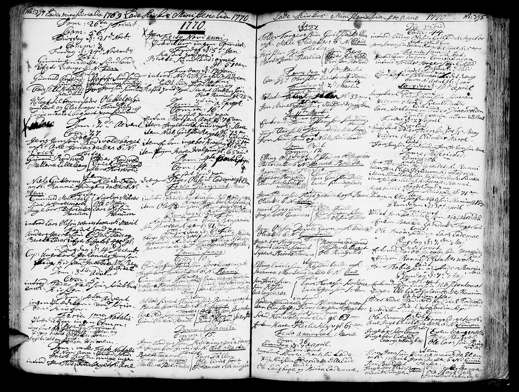 SAT, Ministerialprotokoller, klokkerbøker og fødselsregistre - Sør-Trøndelag, 606/L0275: Ministerialbok nr. 606A01 /1, 1727-1780, s. 394-395