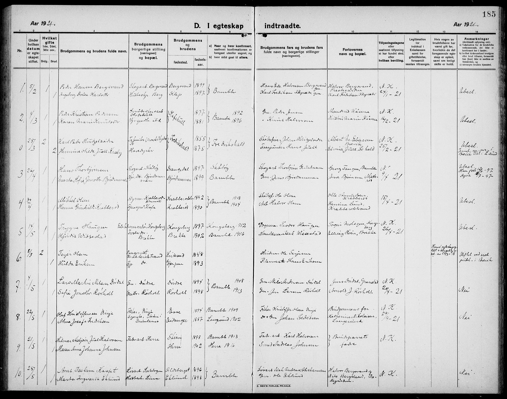 SAKO, Bamble kirkebøker, G/Ga/L0011: Klokkerbok nr. I 11, 1920-1935, s. 185
