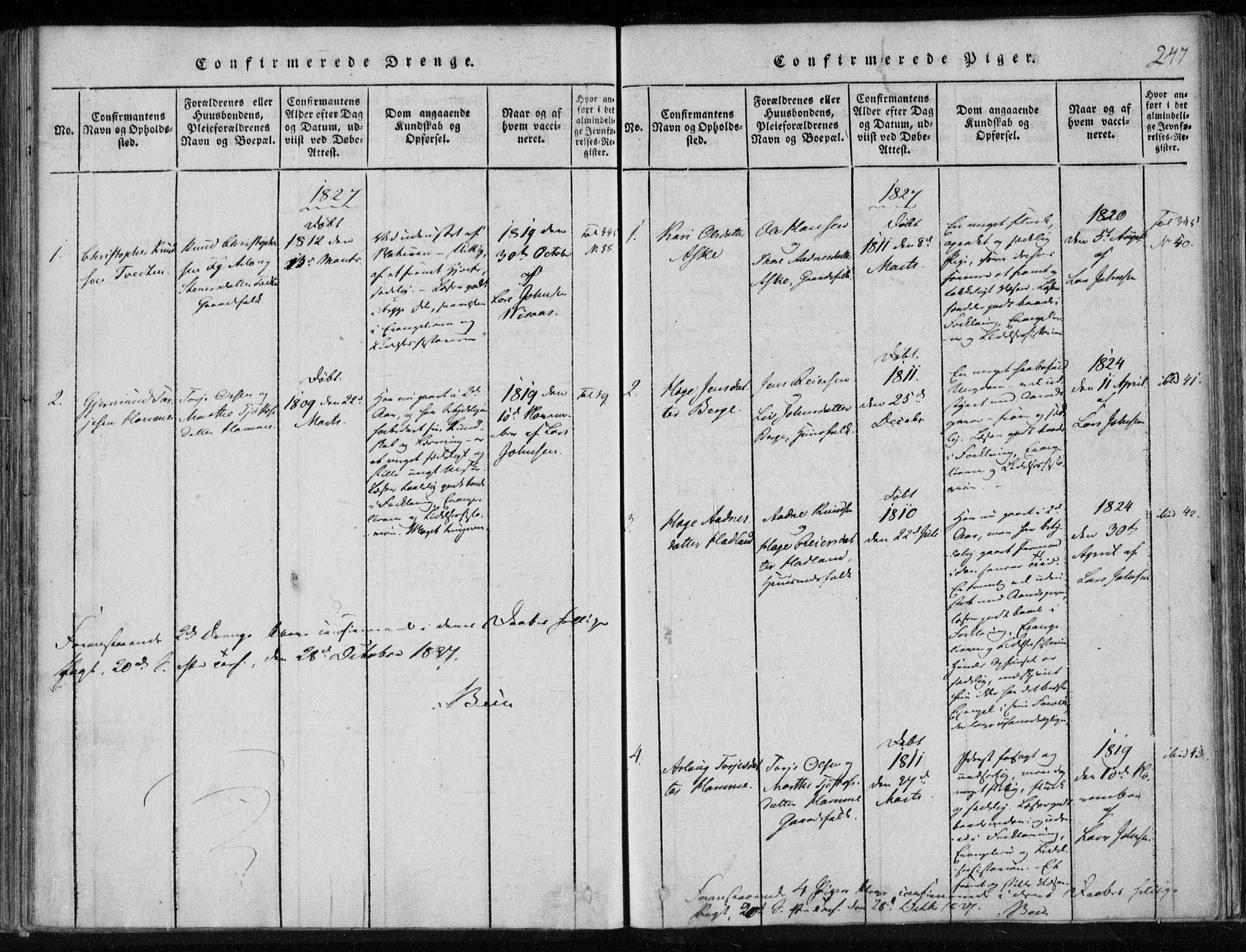 SAKO, Lårdal kirkebøker, F/Fa/L0005: Ministerialbok nr. I 5, 1815-1860, s. 247