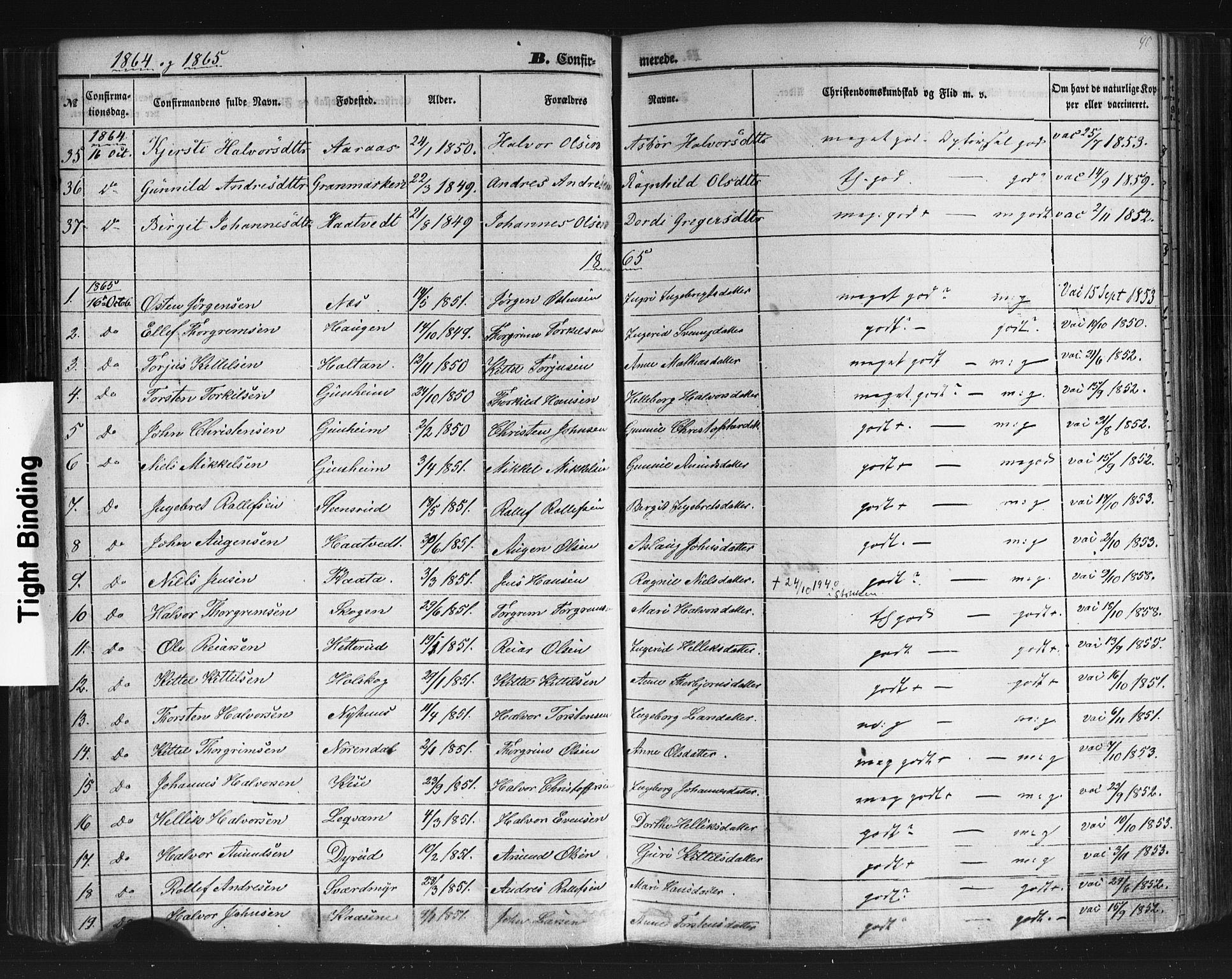 SAKO, Sauherad kirkebøker, F/Fb/L0001: Ministerialbok nr. II 1, 1851-1877, s. 90