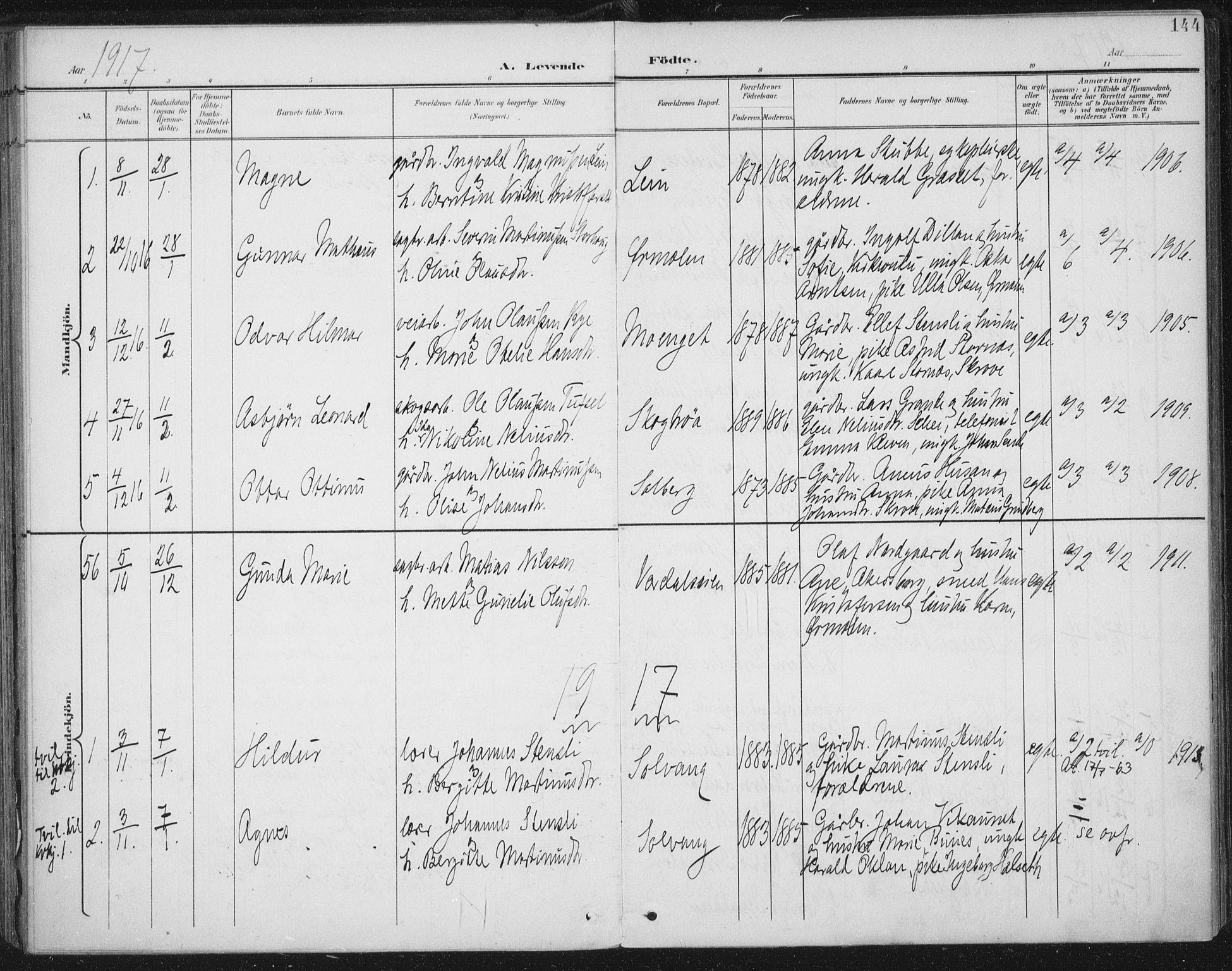 SAT, Ministerialprotokoller, klokkerbøker og fødselsregistre - Nord-Trøndelag, 723/L0246: Ministerialbok nr. 723A15, 1900-1917, s. 144