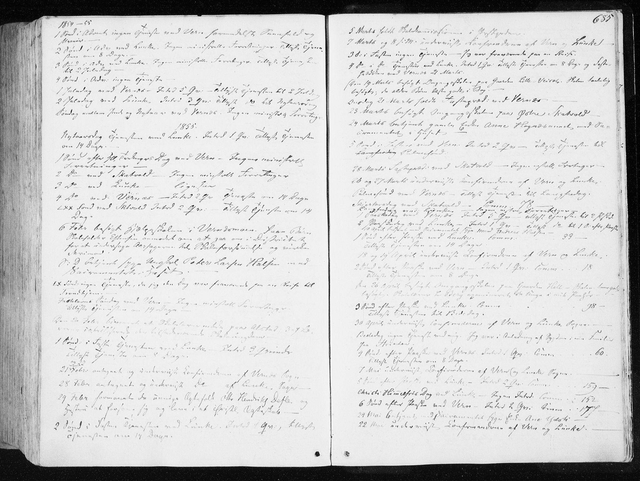 SAT, Ministerialprotokoller, klokkerbøker og fødselsregistre - Nord-Trøndelag, 709/L0074: Ministerialbok nr. 709A14, 1845-1858, s. 685