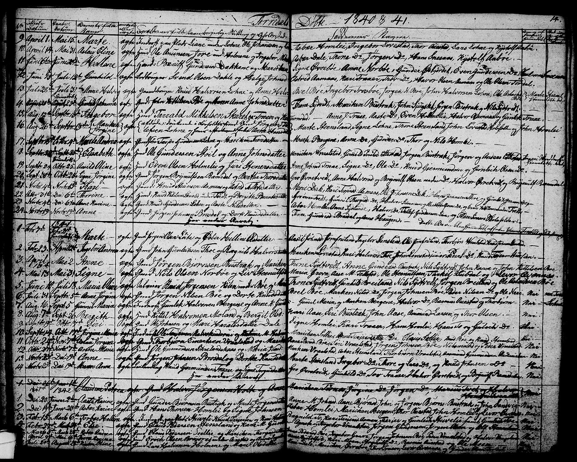 SAKO, Drangedal kirkebøker, G/Ga/L0001: Klokkerbok nr. I 1 /2, 1814-1856, s. 14