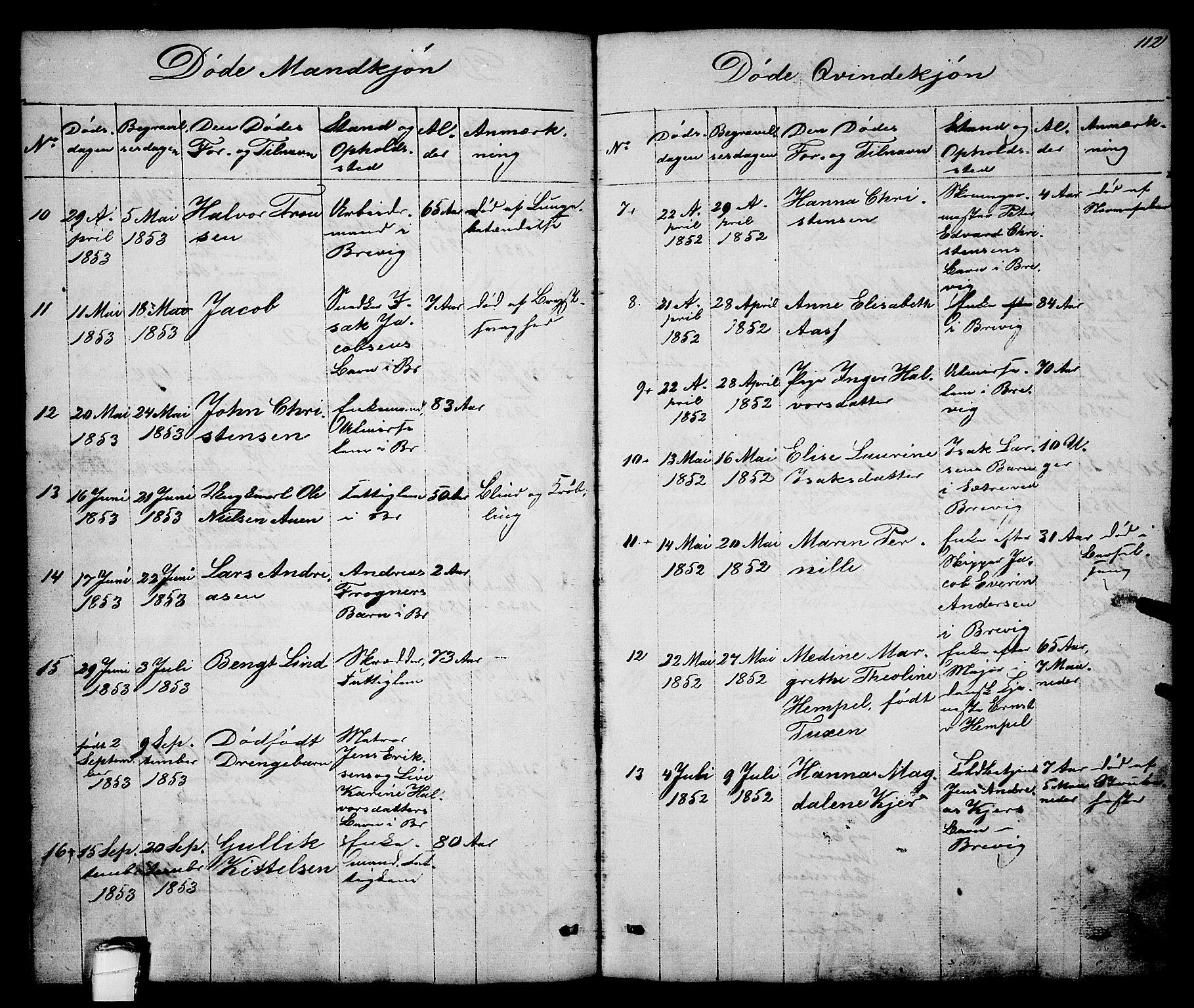 SAKO, Brevik kirkebøker, G/Ga/L0002: Klokkerbok nr. 2, 1846-1865, s. 112