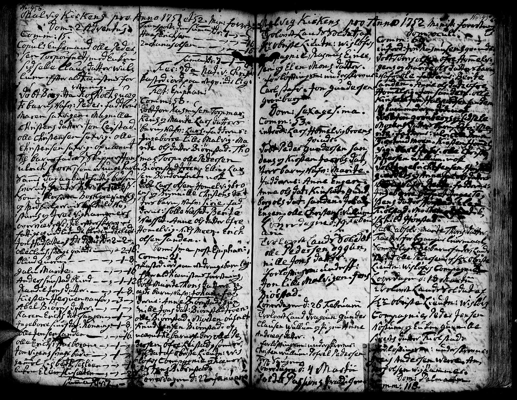 SAT, Ministerialprotokoller, klokkerbøker og fødselsregistre - Sør-Trøndelag, 606/L0277: Ministerialbok nr. 606A01 /3, 1727-1780, s. 456-457