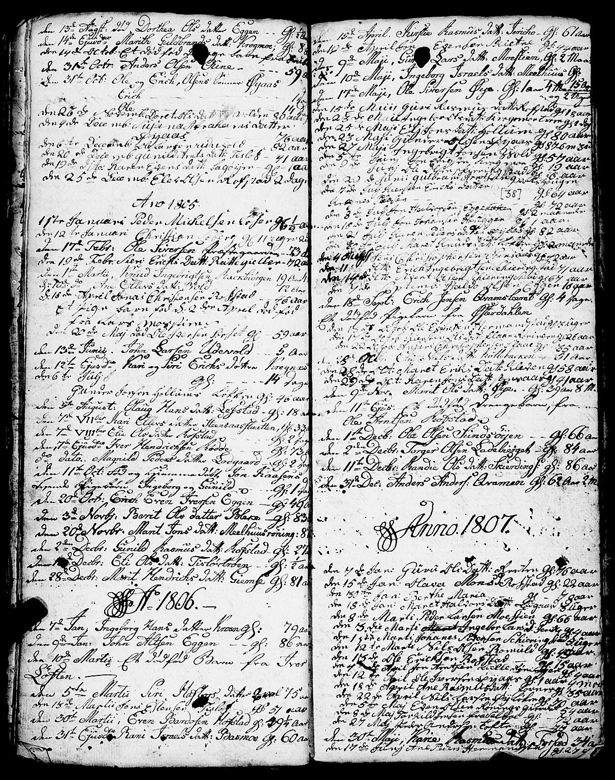 SAT, Ministerialprotokoller, klokkerbøker og fødselsregistre - Sør-Trøndelag, 691/L1091: Klokkerbok nr. 691C02, 1802-1815, s. 38