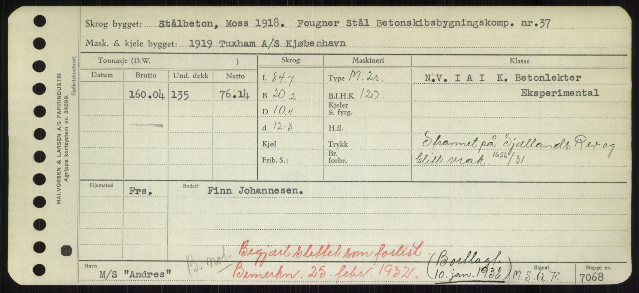 RA, Sjøfartsdirektoratet med forløpere, Skipsmålingen, H/Hd/L0001: Fartøy, A-Anv, s. 577
