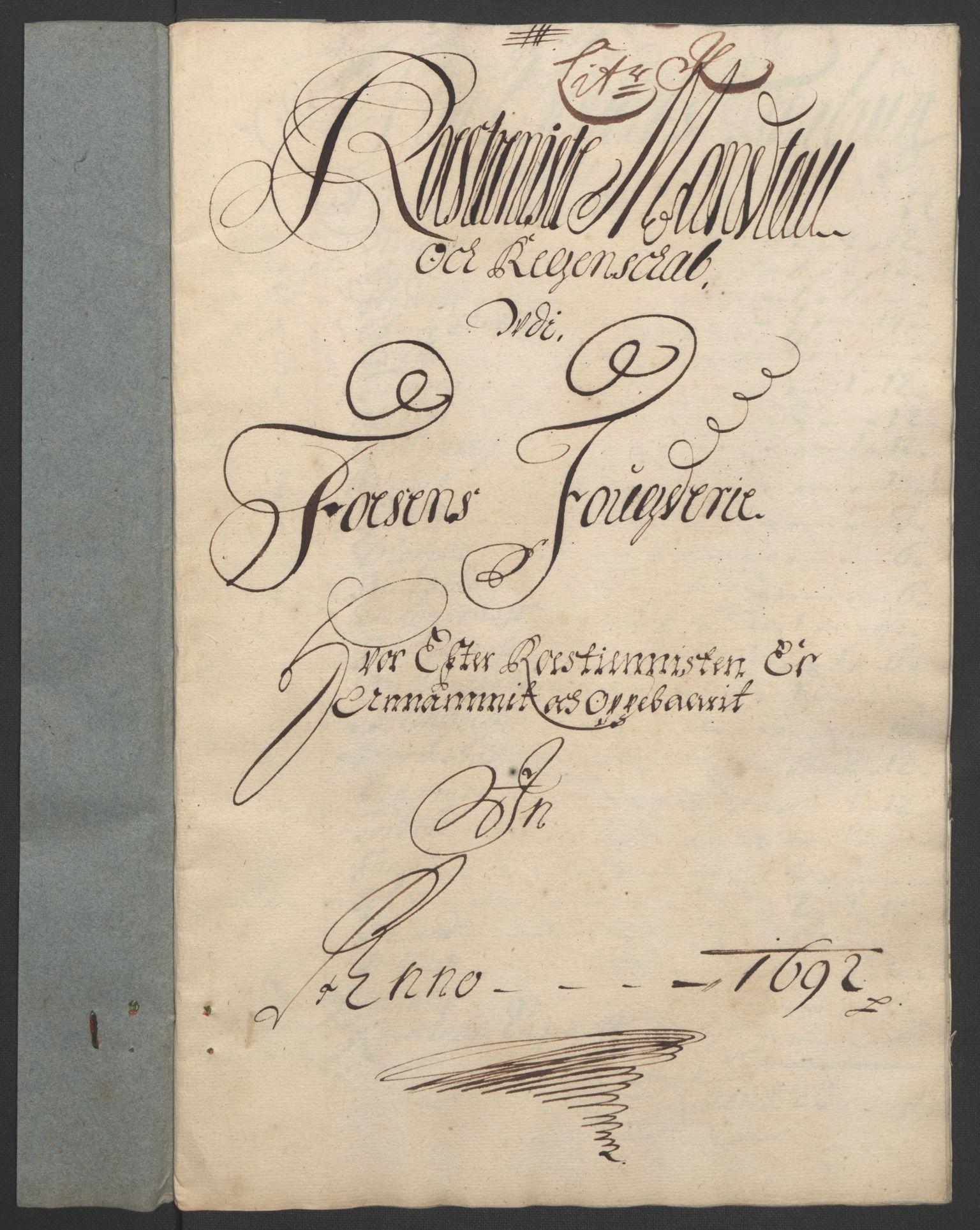 RA, Rentekammeret inntil 1814, Reviderte regnskaper, Fogderegnskap, R57/L3849: Fogderegnskap Fosen, 1692-1693, s. 162