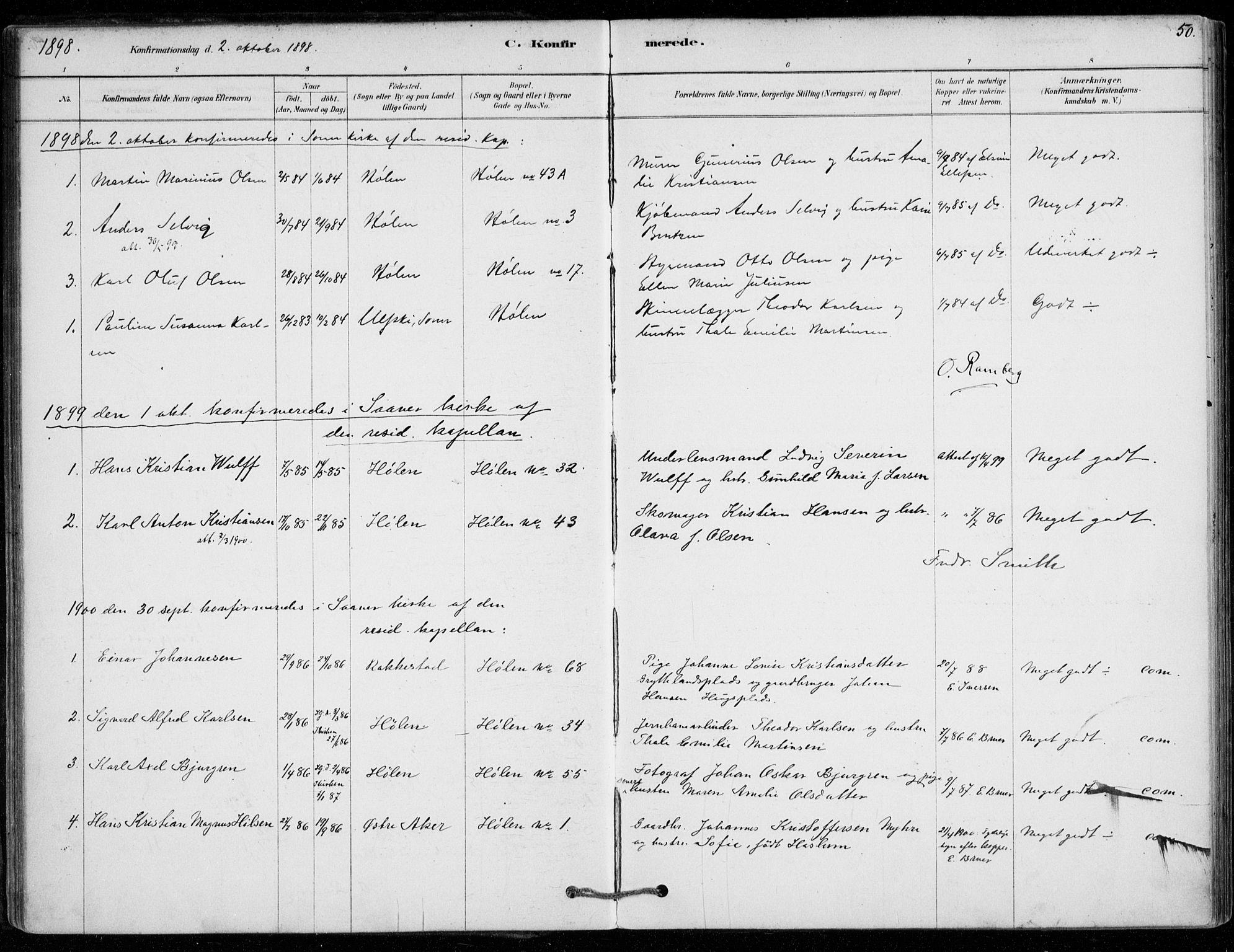 SAO, Vestby prestekontor Kirkebøker, F/Fe/L0001: Ministerialbok nr. V 1, 1878-1931, s. 50