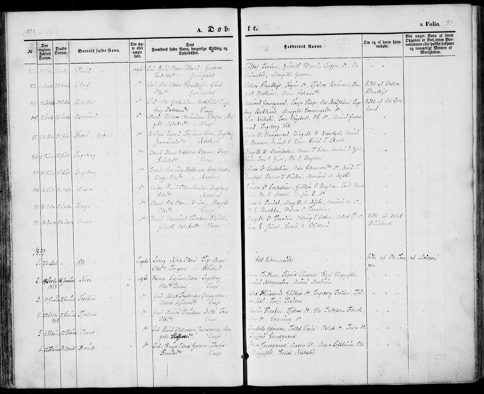 SAKO, Vinje kirkebøker, F/Fa/L0004: Ministerialbok nr. I 4, 1843-1869, s. 90