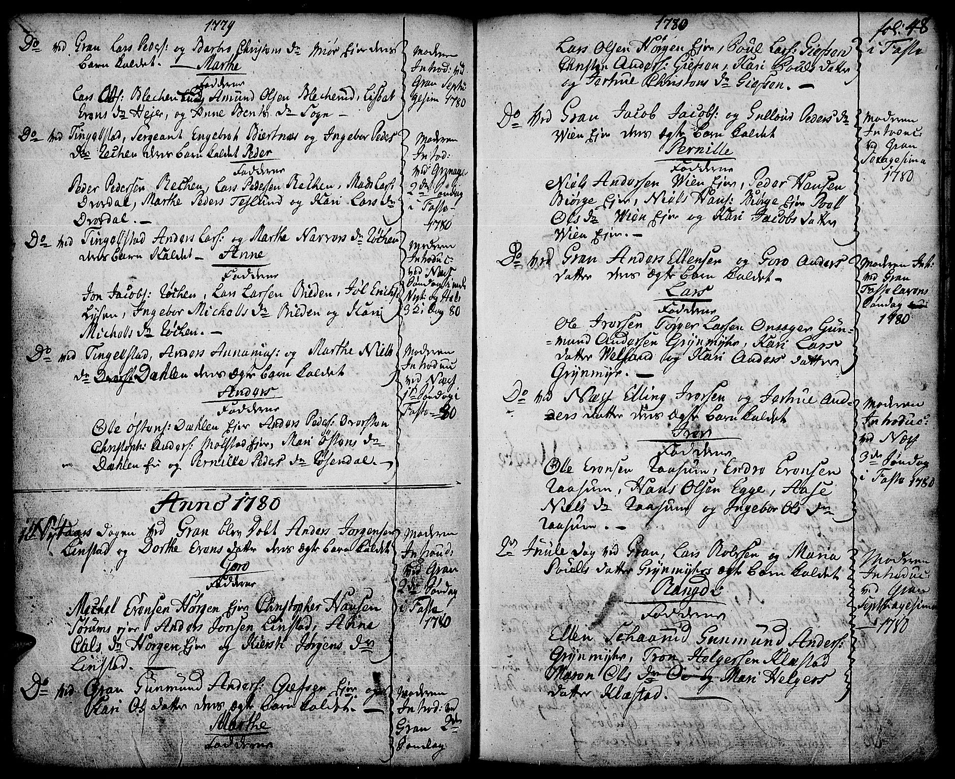 SAH, Gran prestekontor, Ministerialbok nr. 5, 1776-1788, s. 48