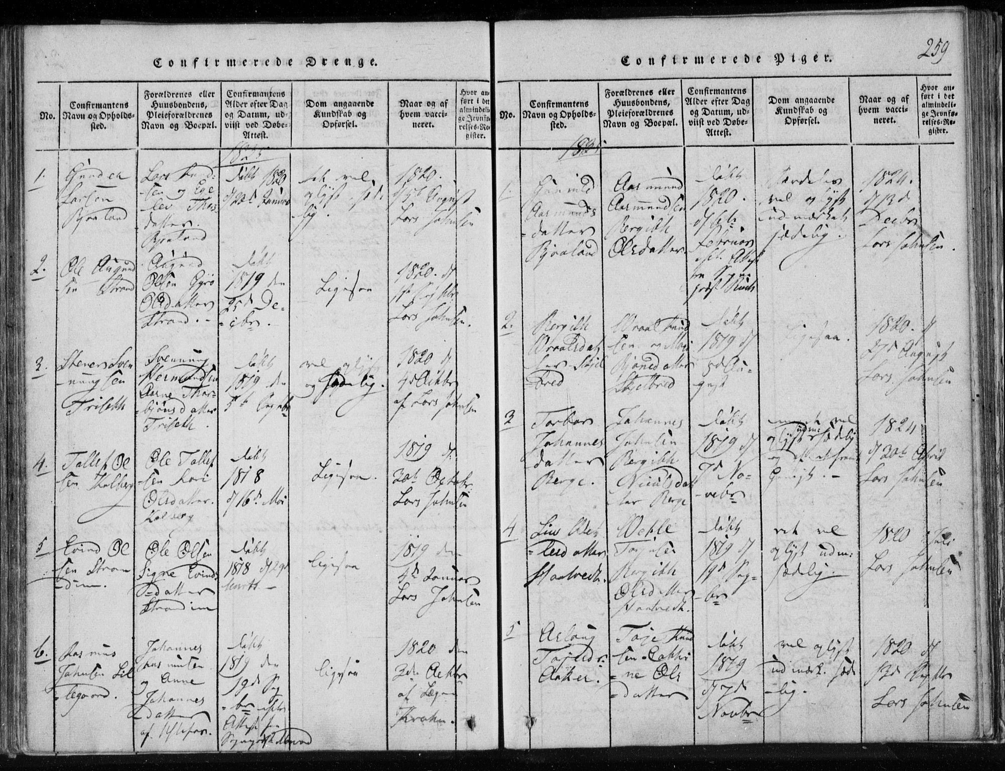 SAKO, Lårdal kirkebøker, F/Fa/L0005: Ministerialbok nr. I 5, 1815-1860, s. 259