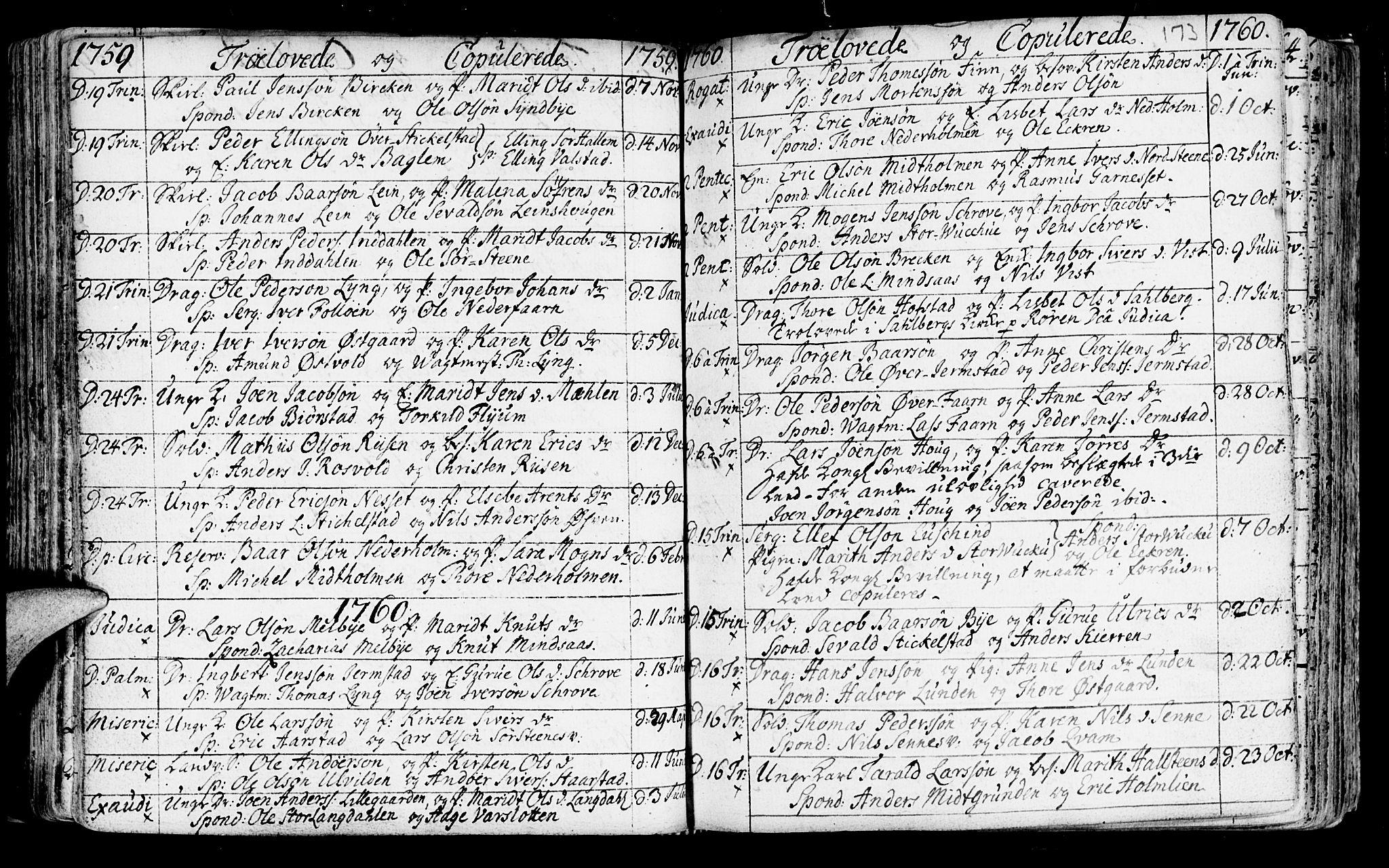 SAT, Ministerialprotokoller, klokkerbøker og fødselsregistre - Nord-Trøndelag, 723/L0231: Ministerialbok nr. 723A02, 1748-1780, s. 173