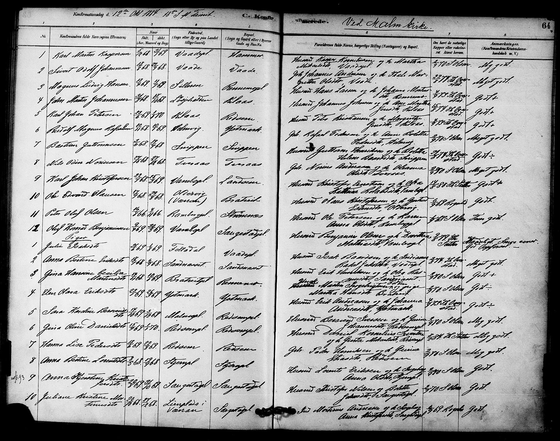 SAT, Ministerialprotokoller, klokkerbøker og fødselsregistre - Nord-Trøndelag, 745/L0429: Ministerialbok nr. 745A01, 1878-1894, s. 64